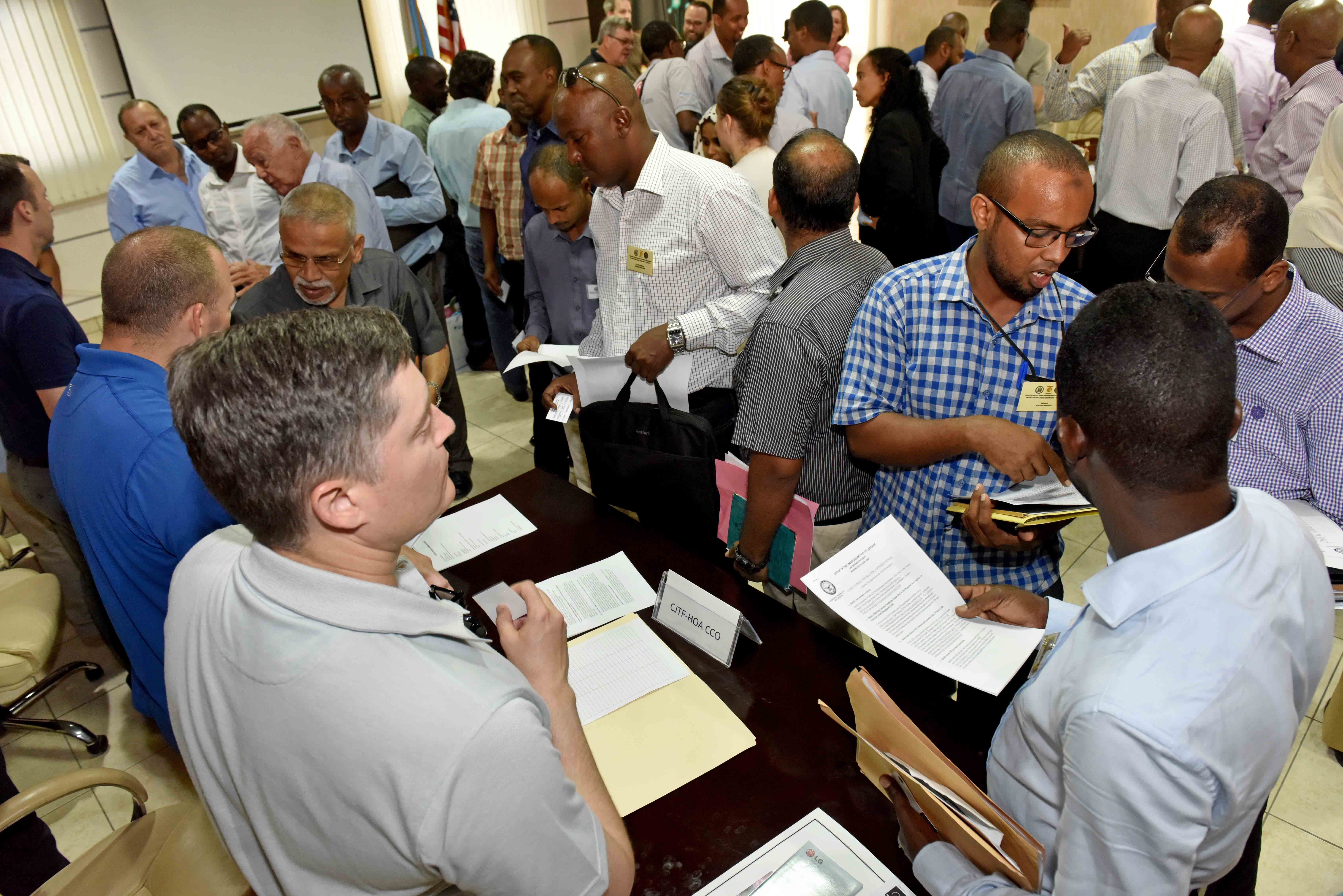 "Contract and facilities managers from Camp Lemonnier and Combined Joint Task Force - Horn of Africa (CJTF-HOA) met with Djiboutian businesses and vendors on May 9. The event, ""Vendor Information Day,"" was sponsored by the Djiboutian Chamber of Commerce as a means to help Camp Lemonnier and its tenant units fulfil resource requirements locally."