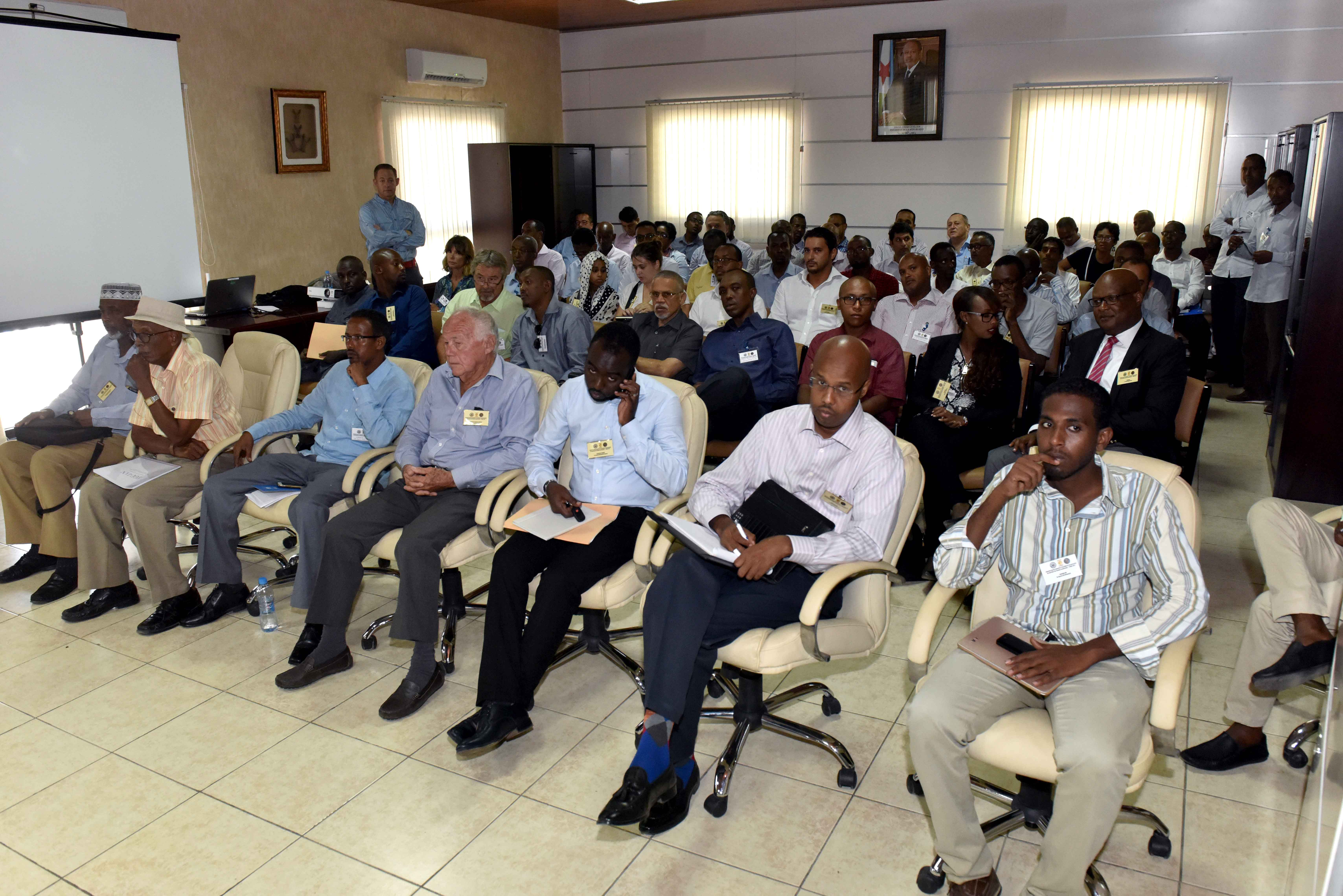 "Local contractors and vendors representing businesses in Djibouti gather to learn how the bidding process works from a Camp Lemonnier military contracting representative May 9, 2017. ""Vendor Information Day"" was held at and sponsored in-part by the Djibouti Chamber of Commerce. (U.S. Navy photo by Mass Communication Specialist 2nd Class Adam A. Tucker/Released)"