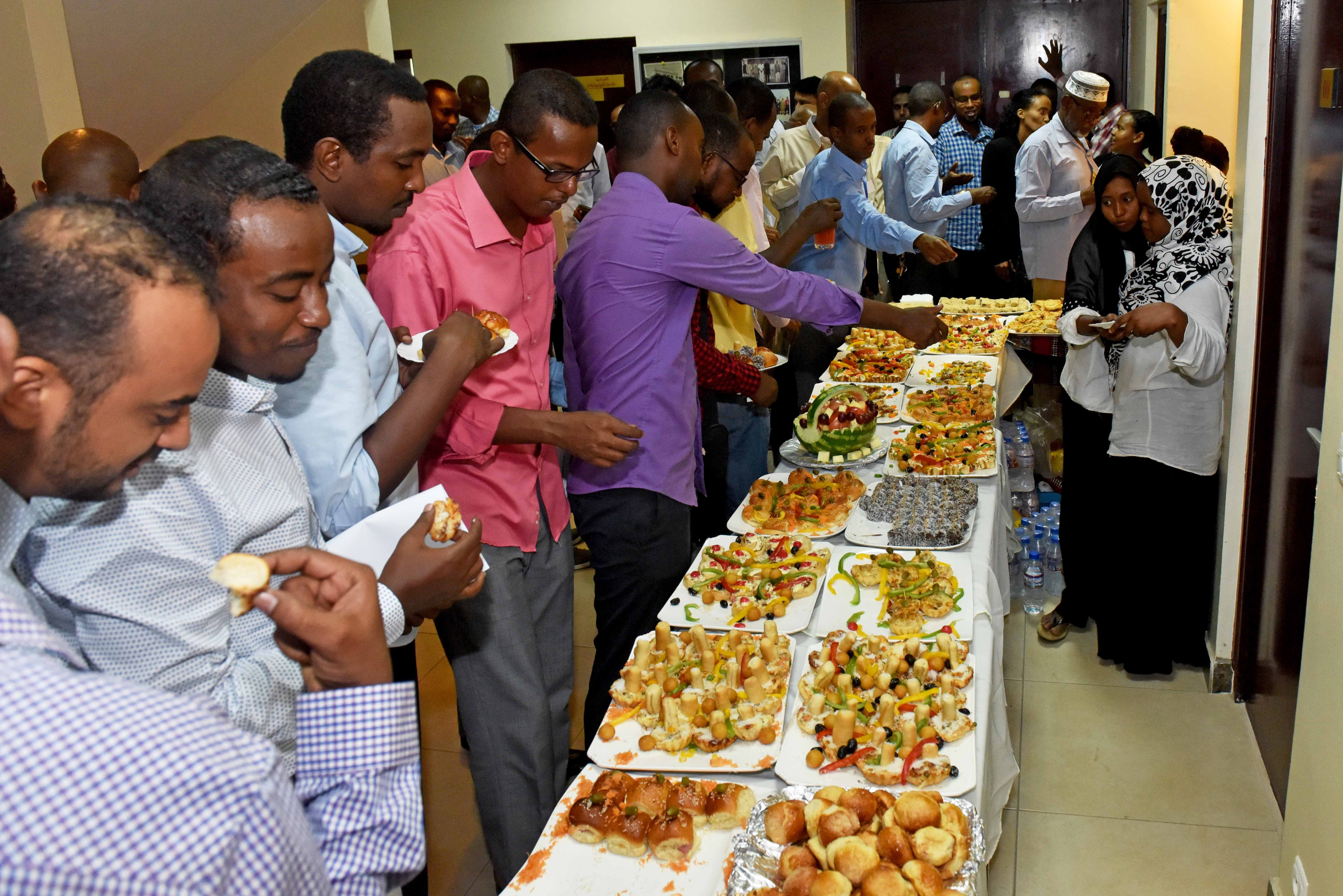 "The Djibouti Chamber of Commerce provided tasty snacks and beverages for the annual ""Vendor Information Day,"" which took place at the Djibouti  Chamber of Commerce May 9, 2017. The annual event helps Camp Lemonnier and its tenant units in their efforts to fulfill resource requirements locally. (U.S. Navy photo by Mass Communication Specialist 2nd Class Adam A. Tucker/Released)"