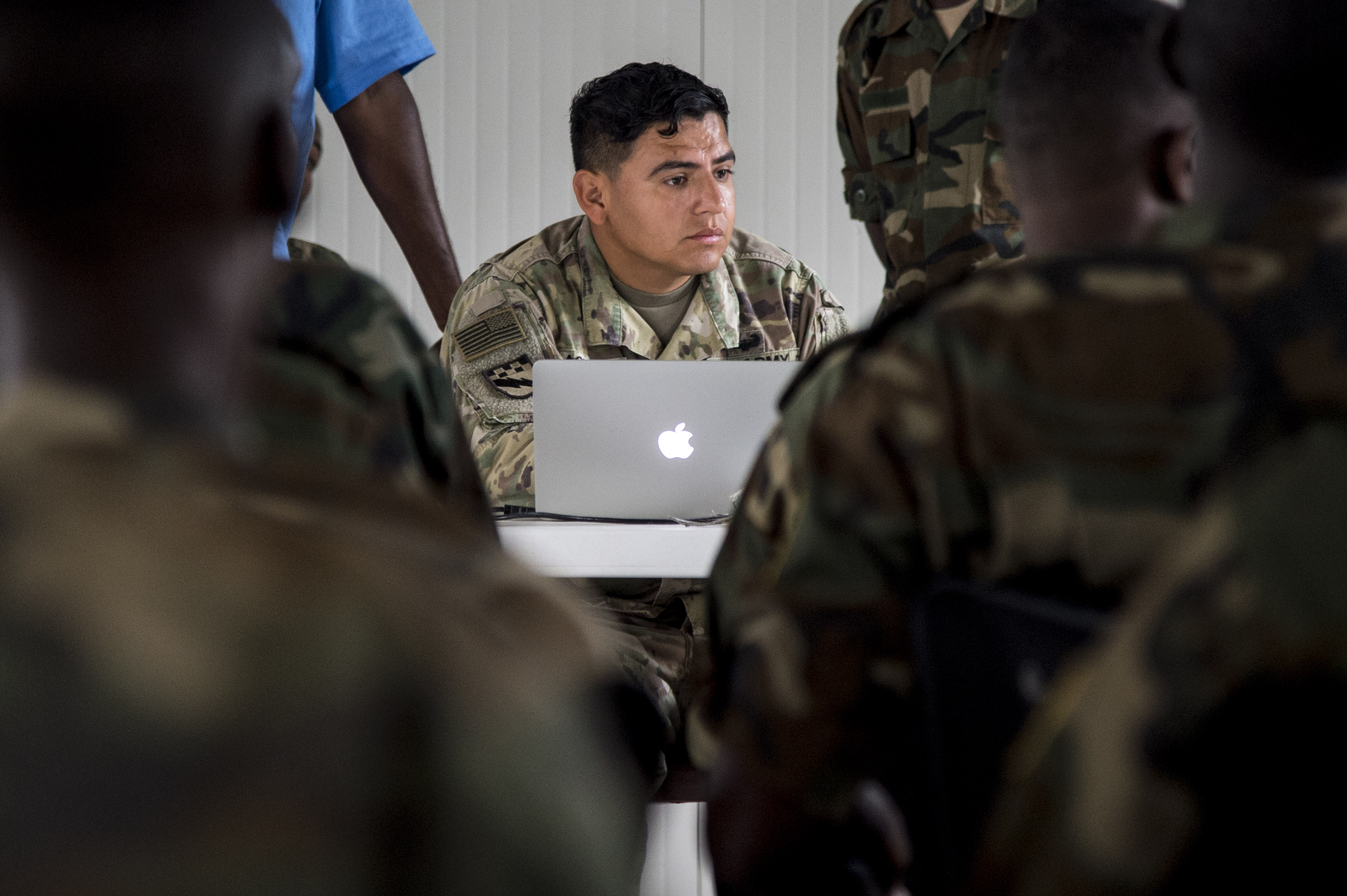 U.S. Army Sgt. Anthony Aguirre, a mechanic with the 101st Airborne Division, 426th Brigade Support Battalion, 1st Brigade Combat Team, teaches a logistics course to Somali National Army soldiers May 22, 2017, in in Mogadishu, Somalia. The six-week logistics course focused on various aspects of moving personnel, equipment and supplies.