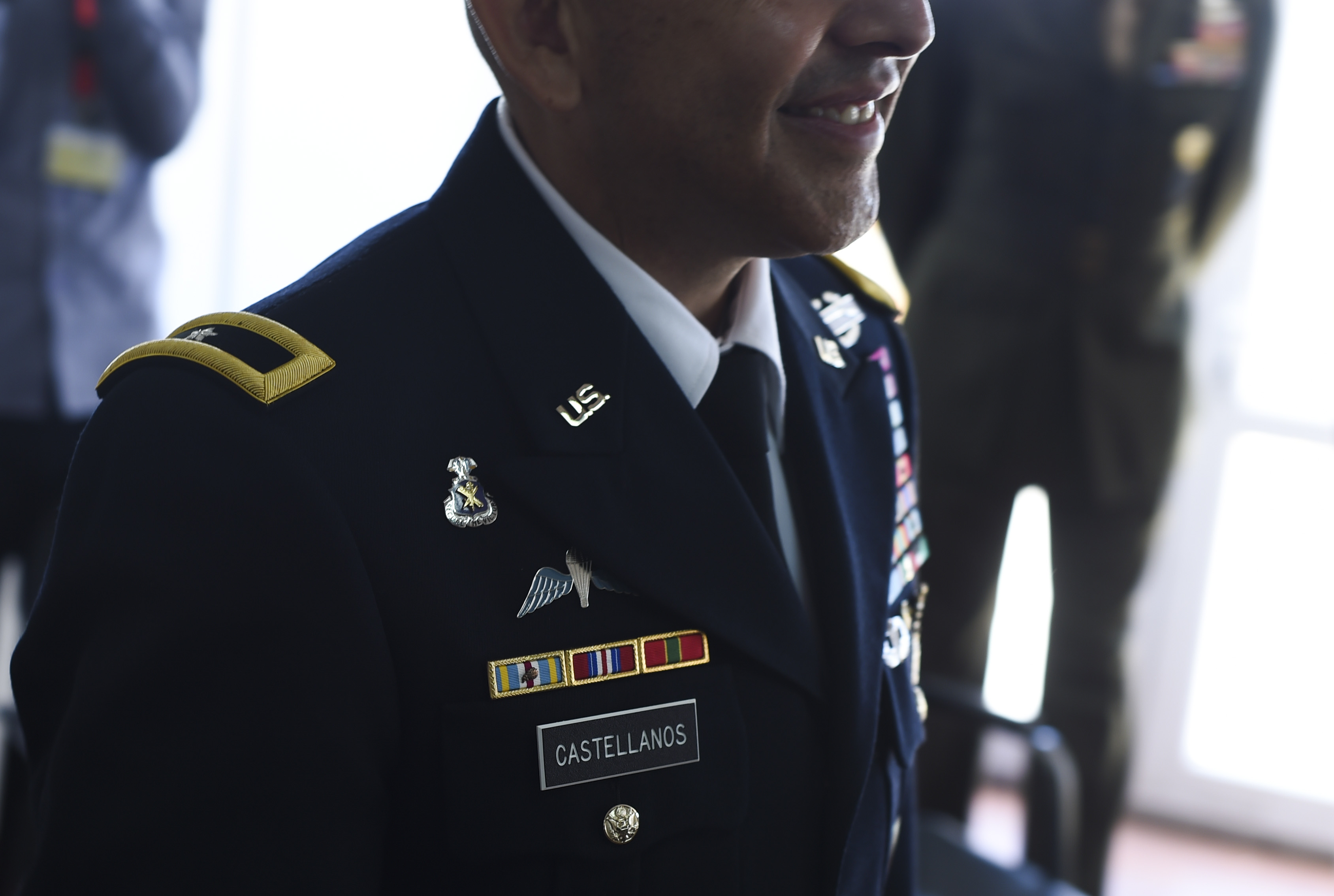 U.S. Army Brig. Gen. Miguel Castellanos, Combined Joint Task Force-Horn of Africa deputy commanding general in Somalia and Mogadishu Coordination Cell director, smiles during a promotion ceremony at MCC, June 4, 2017. Prior to this assignment, Castellanos was the deputy director for Plans and Policy for U.S. Africa Command.(U.S. Air Force photo by Staff Sgt. Eboni Prince)