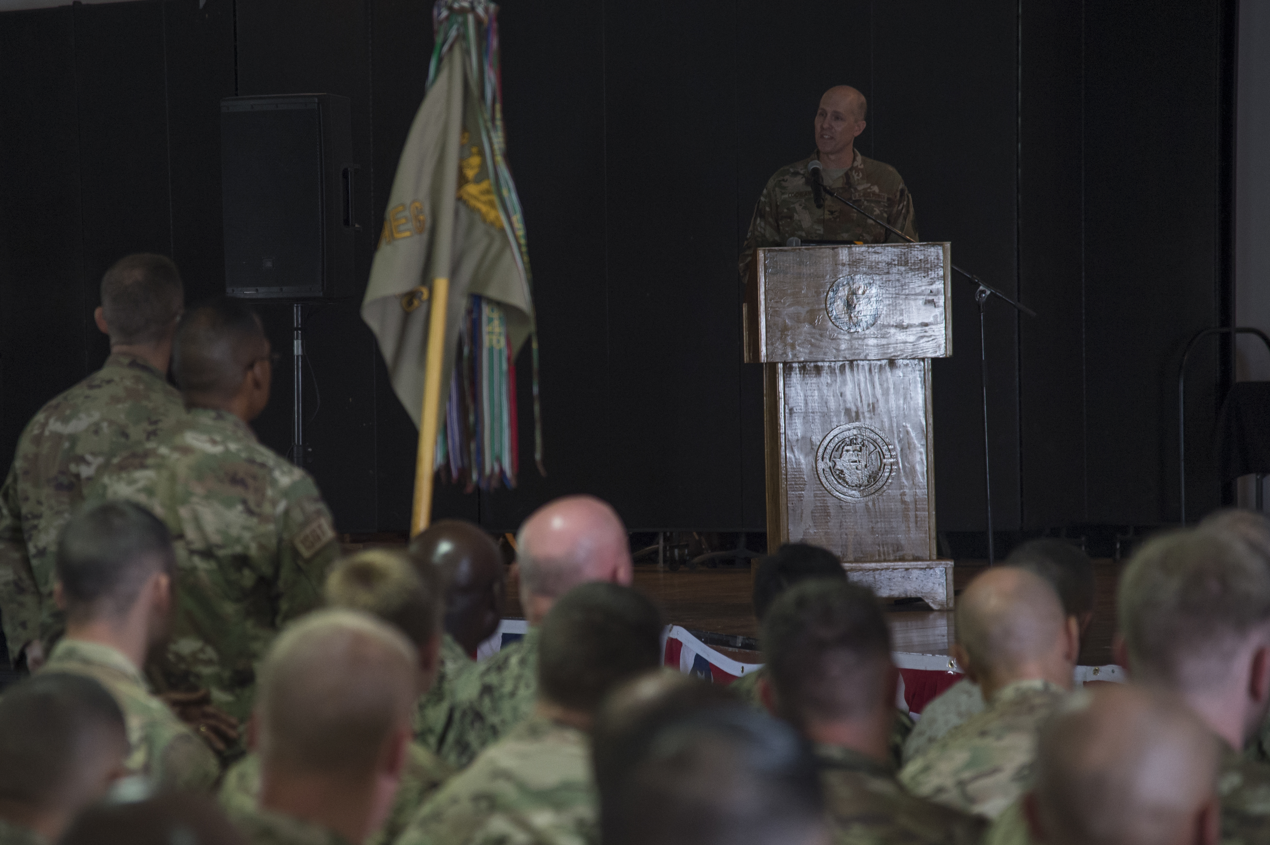 U.S. Air Force Col. Shawn Cochran, 449th Air Expeditionary Group incoming commander, speaks to the crowd during the 449th AEG Change of Command ceremony June 9, 2017, at Camp Lemonnier, Djibouti. Cochran is relieving U.S. Air Force Col. Michael Bruzzini who has served as the 449th AEG Commander since June 6, 2016. The passing of the flag is a military tradition signifying the change of authority and responsibility of a unit from one commander to another. (U.S. Air National Guard Photo by Tech. Sgt. Joe Harwood)