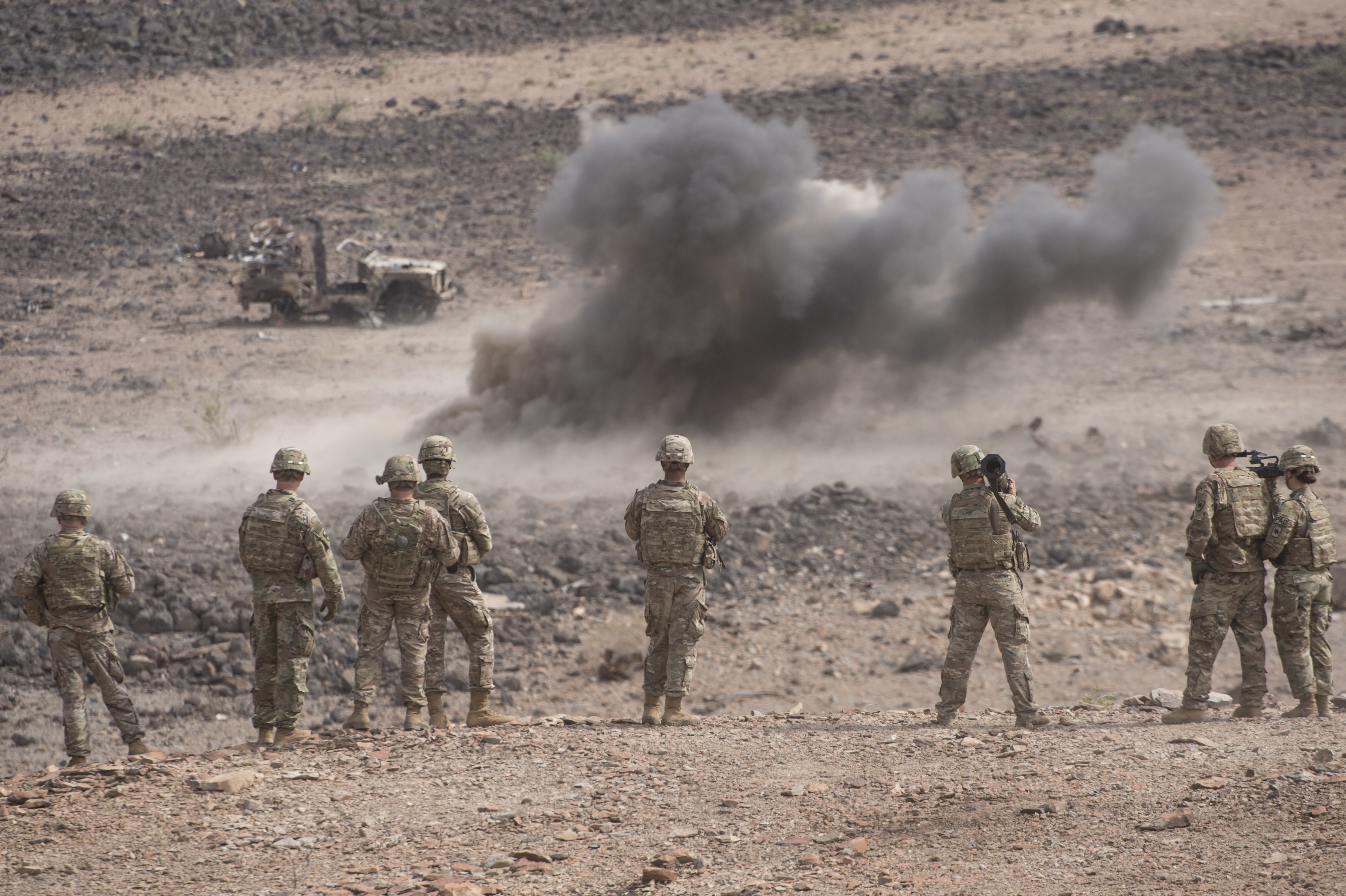 Soldiers selected by 1st Battalion, 153rd Infantry Regiment, as Soldiers of the month while deployed with the Combined Joint Task Force-Horn of Africa in Djibouti, were offered the opportunity to participate in a limited AT4 live-fire exercise at a range along the southern coast of the Gulf of Tadjoura, Aug. 22, 2017. The AT4 is a shoulder-fired anti-tank weapon which is disposable after just one use, making it a special opportunity to fire one. (U.S. Air National Guard photo by Tech. Sgt. Joe Harwood)