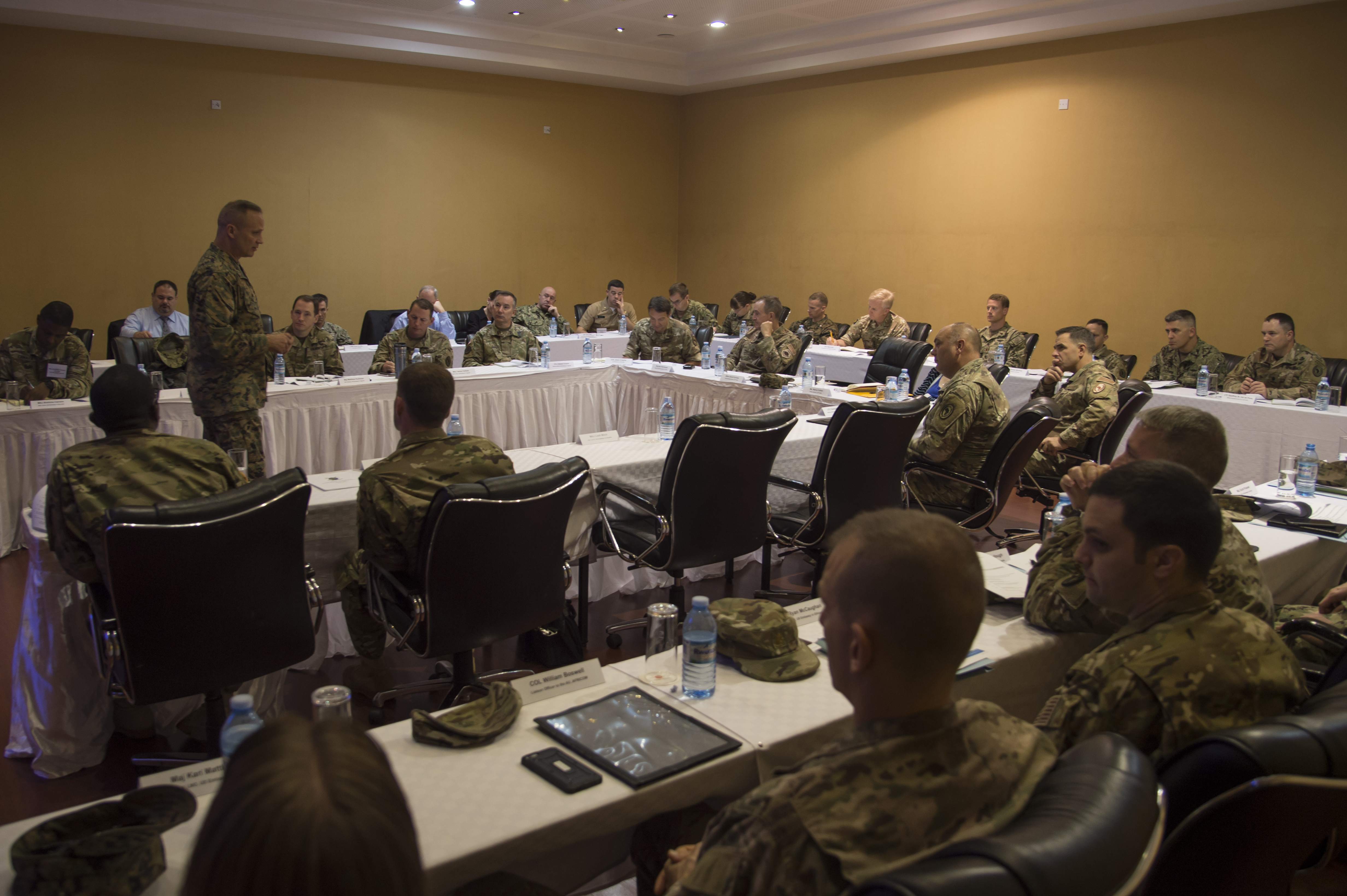 Combined Joint Task Force-Horn of Africa Commanding General, U.S. Marine Corps Brig. Gen. David Furness, speaks to attendees at the 2017 East African Senior Defense Official/Defense Attaché Conference in Kampala, Uganda, to discuss regional issues and address threat mitigation options to counter improvised explosive devices on Oct. 17, 2017. Subject matter experts from a variety of government agencies discussed military partnership opportunities to enhance security and stability throughout East Africa. (U.S. Air National Guard photo by Tech. Sgt. Joe Harwood)