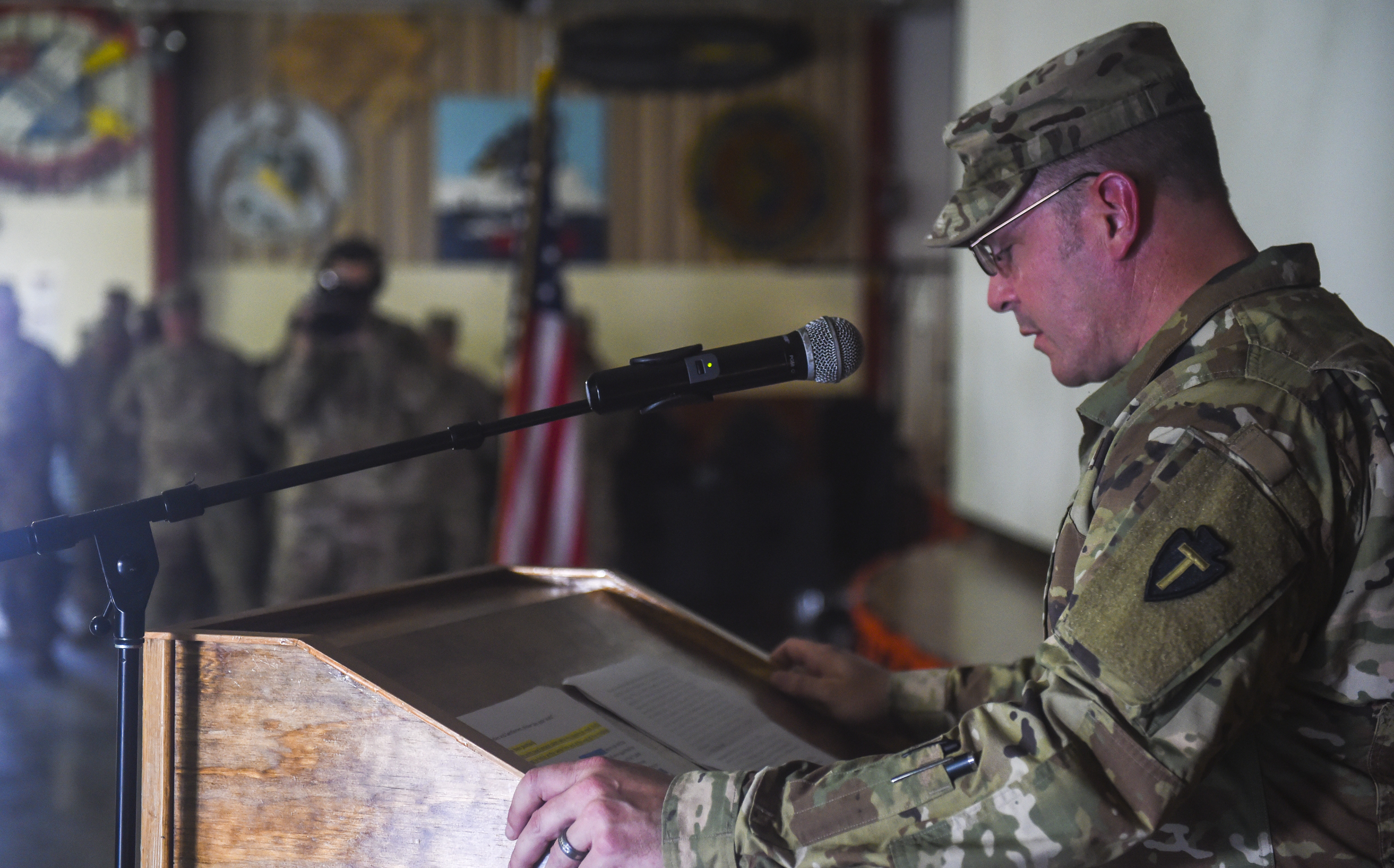 U.S. Army Lt. Col. Ross Walker, 3rd Battalion, 144th Infantry Regiment battalion commander, delivers his remarks during a transfer of authority ceremony at Camp Lemonnier, Djibouti, Nov. 1, 2017. During the ceremony, the 3-144th IN assumed responsibility of the security force mission previously being conducted by the 1st Battalion, 153rd Infantry Regiment. The 3-144th IN will be responsible for security force assistance and force protection for U.S. interests and partner nations in the Combined Joint Task Force – Horn of Africa's area of responsibility. (U.S. Air Force photo by Staff Sgt. Timothy Moore)
