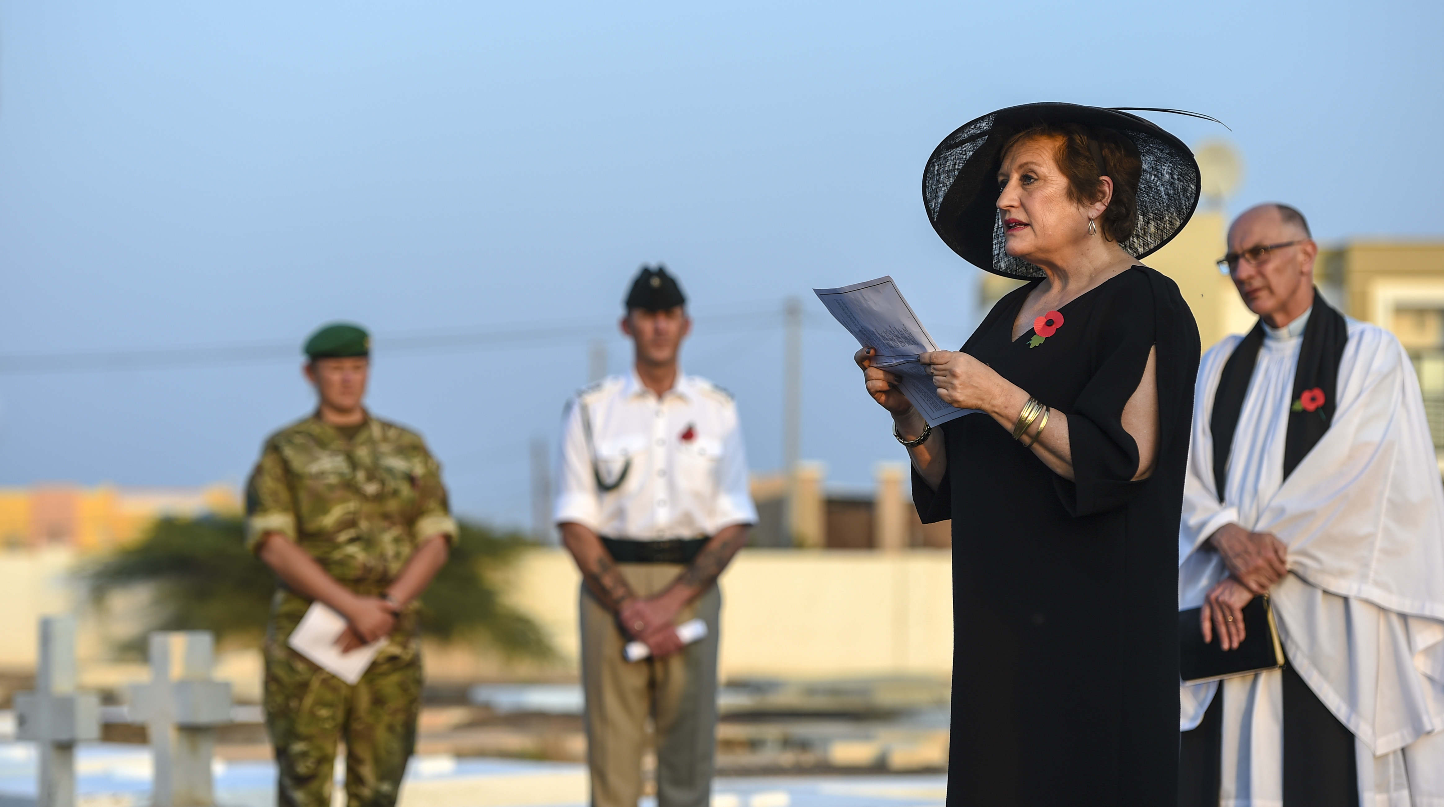 Susanna Moorehead, British Ambassador to Djibouti, speaks to attendees of a Remembrance Day ceremony at the Djibouti New European Cemetery near Camp Lemonnier, Djibouti, Nov. 7, 2017. Similar to Veterans Day in the United States and formerly known as Armistice Day, Remembrance Day, traditionally observed on November 11, was a day set aside to commemorate the day hostilities ceased on the western front during World War I. It has evolved to include service members who have lost their lives in service of their countries in all wars since. (U.S. Air Force photo by Staff Sgt. Timothy Moore)