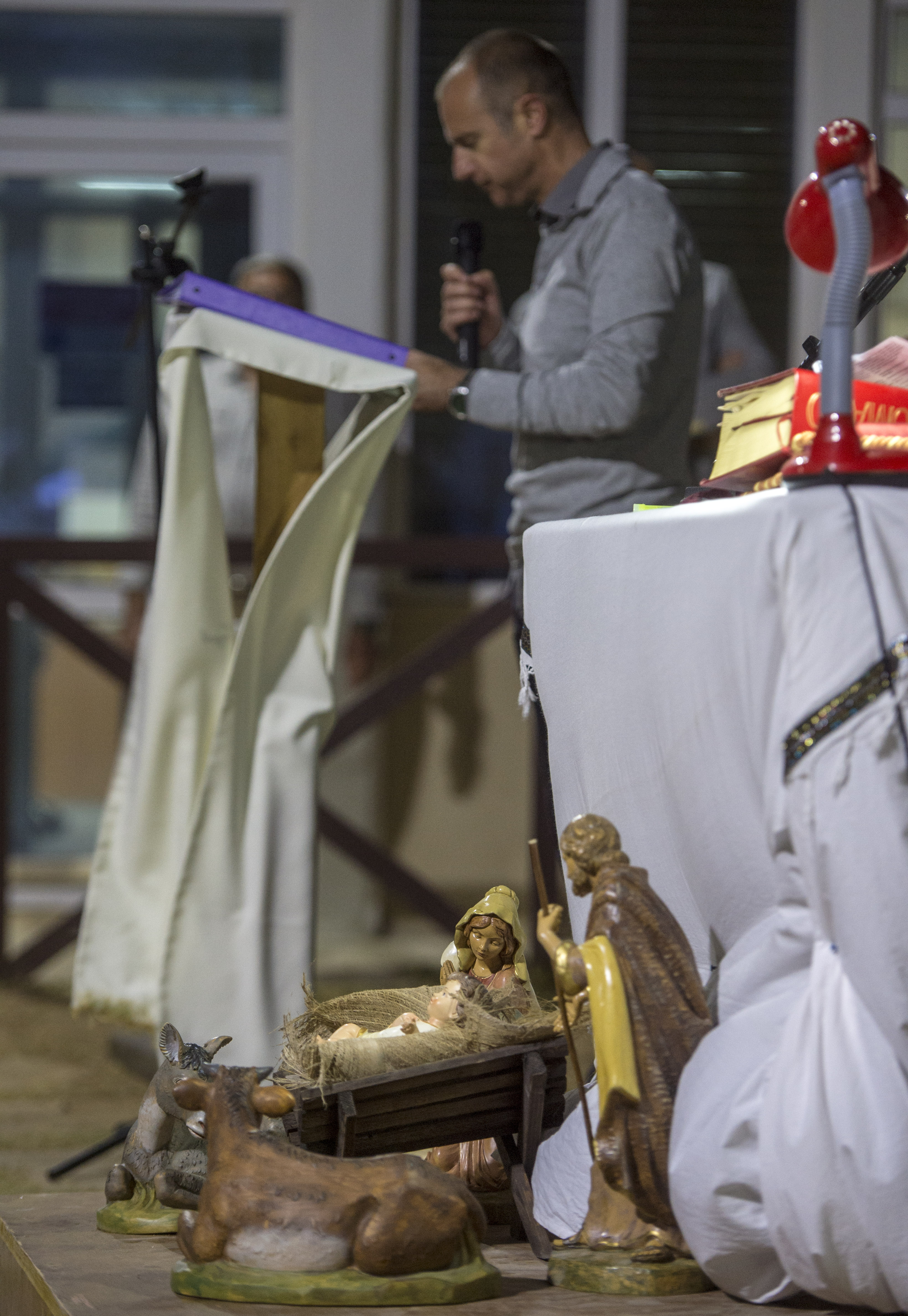 A nativity scene is displayed during a Christmas Eve service in Mogadishu, Somalia, Dec. 24, 2017. U.S. service members assigned to Combined Joint Task Force - Horn of Africa, along side service members from partner nations, are taking time to connect with each other and with family members back home as they head into the new year, continuing their dedication to protecting the U.S. and strengthening relationships with partnered nations. (U.S. Air Force photo by Staff Sgt. Timothy Moore)