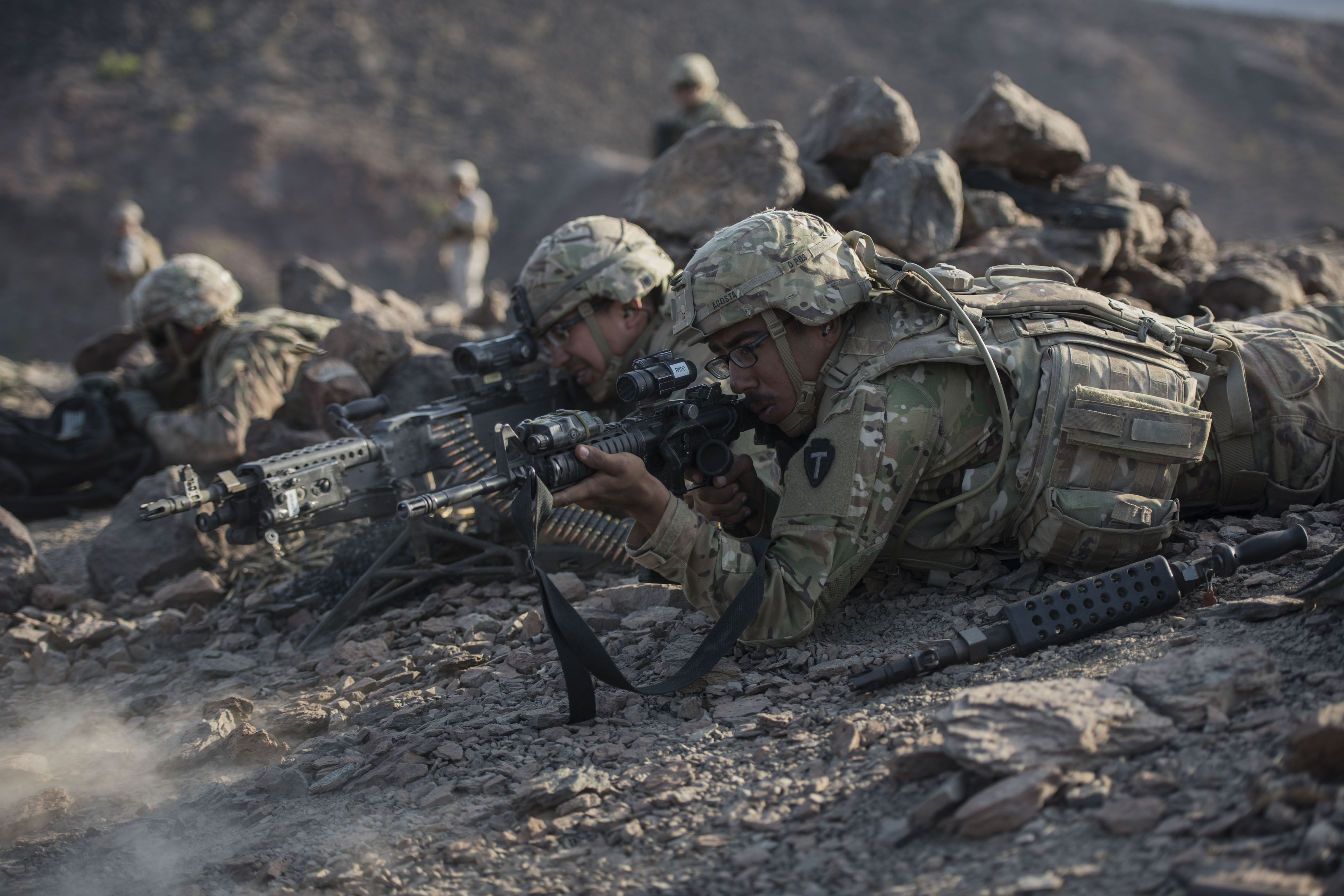 U.S. Army Soldiers with 3rd Battalion, 144th Infantry Regiment, assigned to Task Force Bayonet, Combined Joint Task Force - Horn of Africa, fire weapons at staged targets during a live-fire combat rehearsal as part of Alligator Dagger at Arta Range, Djibouti, Dec. 17, 2017. Alligator Dagger, led by Naval Amphibious Force, Task Force 51/5th Marine Expeditionary Brigade, is a dedicated, bilateral combat rehearsal that combines U.S. and French forces to practice, rehearse and exercise integrated capabilities available to U.S. Central Command both afloat and ashore. (U.S. Air Force photo by Staff Sgt. Allyson L. Manners)