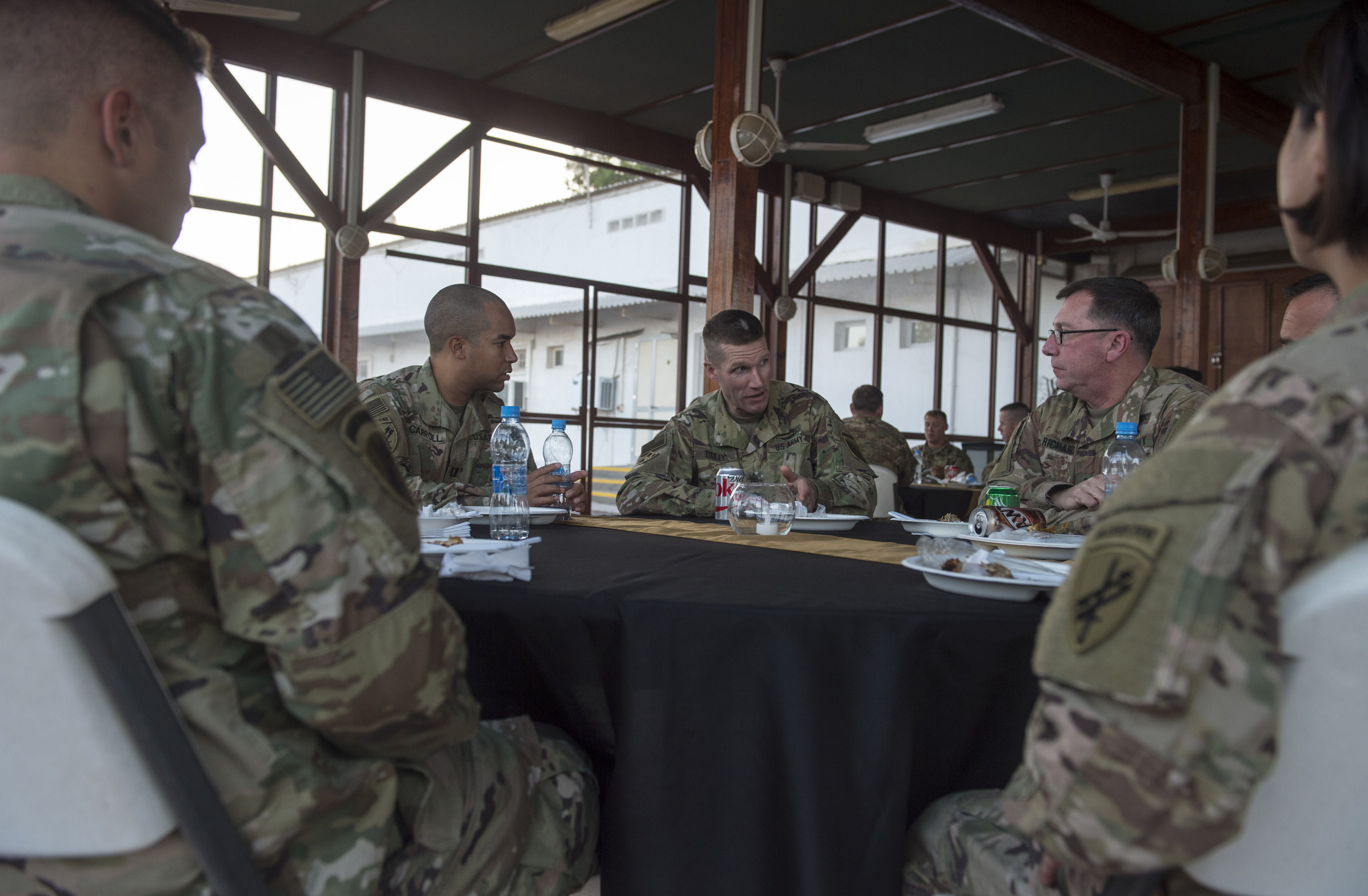 U.S. Sgt. Maj. of the Army Daniel Dailey visits with Soldiers assigned to Combined Joint Task Force - Horn of Africa at Camp Lemonnier, Djibouti, Dec. 21, 2017. Camp Lemonnier was Dailey's last stop before returning to the United States as he visited with Soldiers and other service members deployed and away from their families during the holidays. (U.S. Air Force photo by Staff Sgt. Timothy Moore)