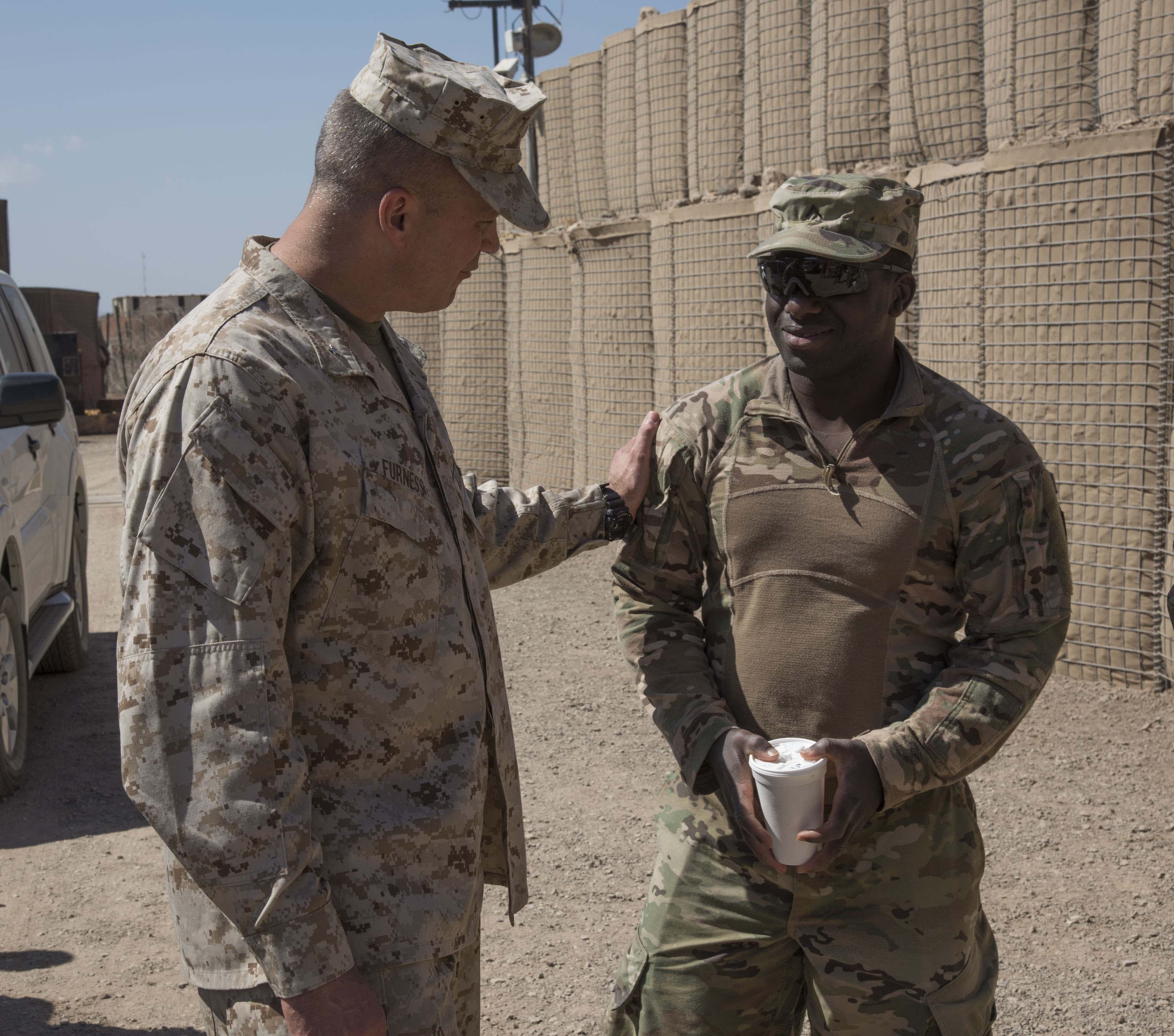 U.S. Marine Corps Brig. Gen. David J. Furness, commander of Combined Joint Task Force – Horn of Africa, visits with troops in Chabelley, Djibouti, Dec. 25, 2017.  Furness spent the afternoon meeting with service members and thanking them for their continued service and sacrifice throughout the holiday season. (U.S. Air National Guard photo by Staff Sgt. Allyson L. Manners)