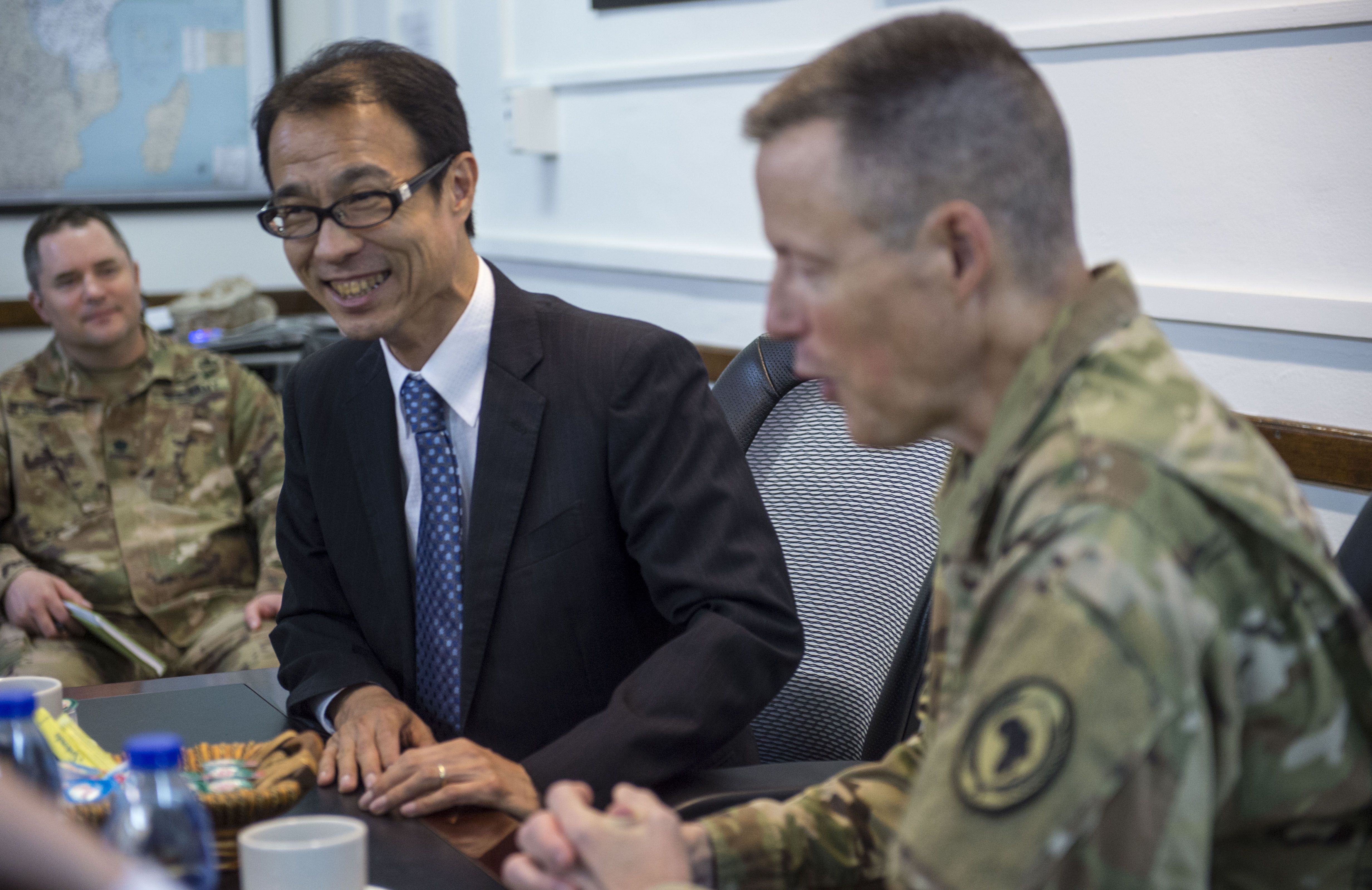 U.S. Army Brig. Gen. William Zana, Combined Joint Task Force - Horn of Africa deputy commanding general, hosted Koji Yotenani, Japanase Ambassador to Djibouti, and Larry André, U.S. Ambassador to Djibouti, during a visit to Camp Lemonnier, Djibouti, March 7, 2018. Yonetani and André were appointed as their countries' ambassadors to Djibouti in October and November 2017, respectively. CJTF-HOA works with U.S. and international partners to secure and stabilize the East African region against violent extremist organizations. (U.S. Air Force photo by Staff Sgt. Timothy Moore)