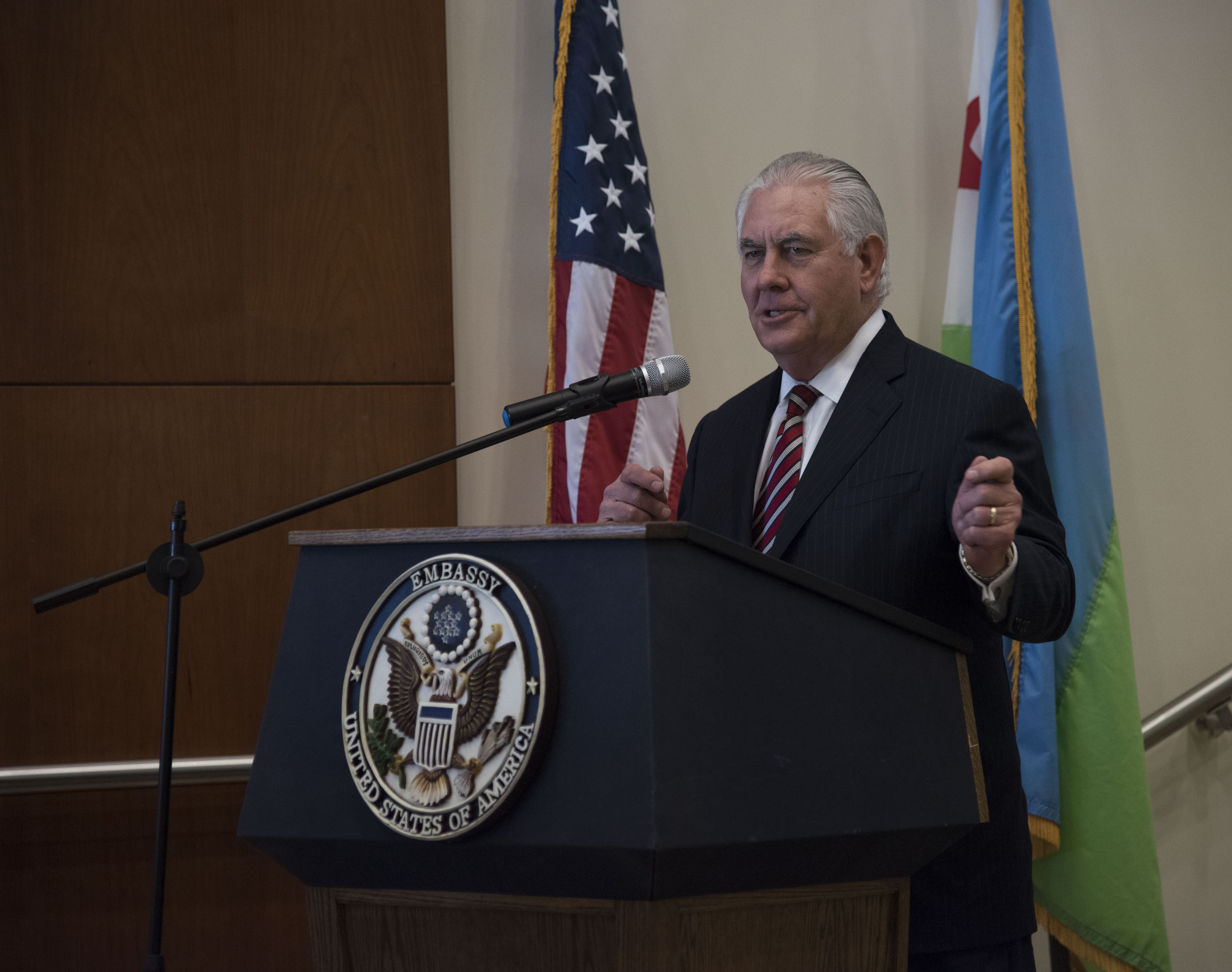 U.S. Secretary of State Rex Tillerson speaks to personnel at the U.S. Embassy, Djibouti, March 9, 2018. Secretary Tillerson traveled to Djibouti to discuss the U.S.-Djiboutian partnership, and exchanged views on bilateral concerns, security threats, and economic reforms. (U.S. Air National Guard photo by Staff Sgt. Allyson L. Manners)