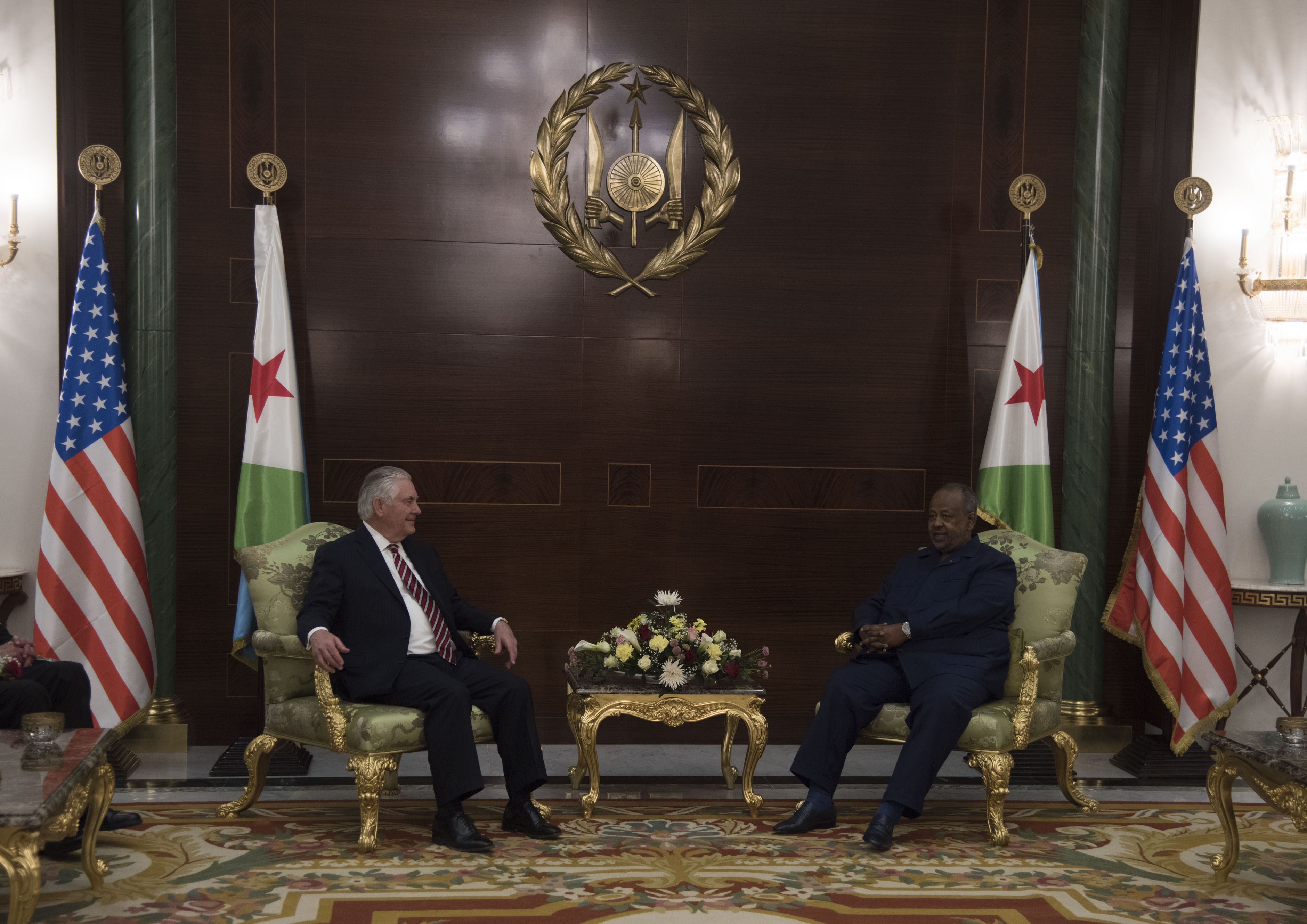 U. S. Secretary of State Rex Tillerson meets with President Ismail Omar Guelleh at the Presidential Palace, Djibouti, March 9. 2018. Secretary Tillerson also met with Djiboutian Foreign Minister Mahmoud Ali Youssouf in Djibouti to discuss the U.S.-Djiboutian partnership, and exchanged views on bilateral concerns, security threats, and economic reforms. (U.S. Air National Guard photo by Staff Sgt. Allyson L. Manners)