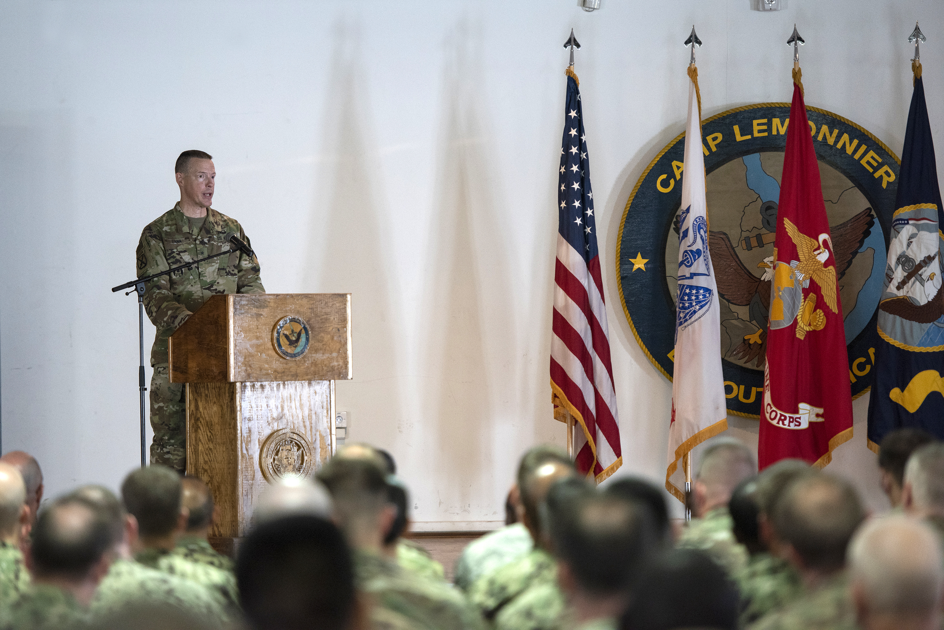 U.S. Army Brig. Gen. William Zana, acting commander, gives his welcome address to service members assigned to Combined Joint Task Force Horn of Africa on Camp Lemonnier, Djibouti, May 1, 2018. Zana served as the deputy commander of CJTF-HOA for the past year. (U.S. Air National Guard photo by Master Sgt. Sarah Mattison)