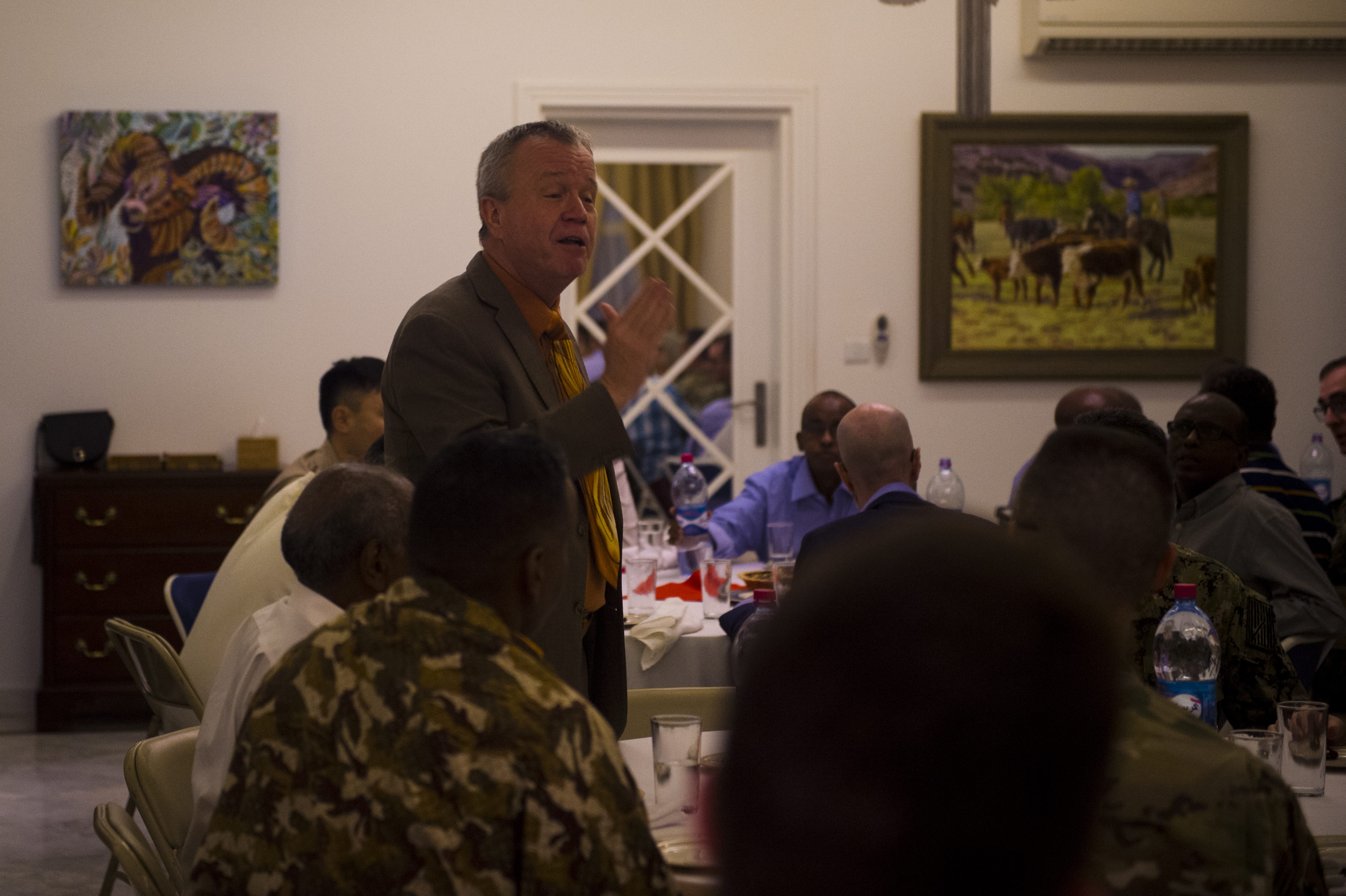 U.S. Ambassador to the Republic of Djibouti, Larry André, speaks to guests during an Iftar at his home in Djibouti, May 22, 2018. André opened his home to celebrate two Iftars, one run by the Defense Attaché Office for senior Diboutian Military and security leaders, the second for senior government, diplomatic, and business leaders.. (U.S. Air Force photo by Senior Airman Scott Jackson)