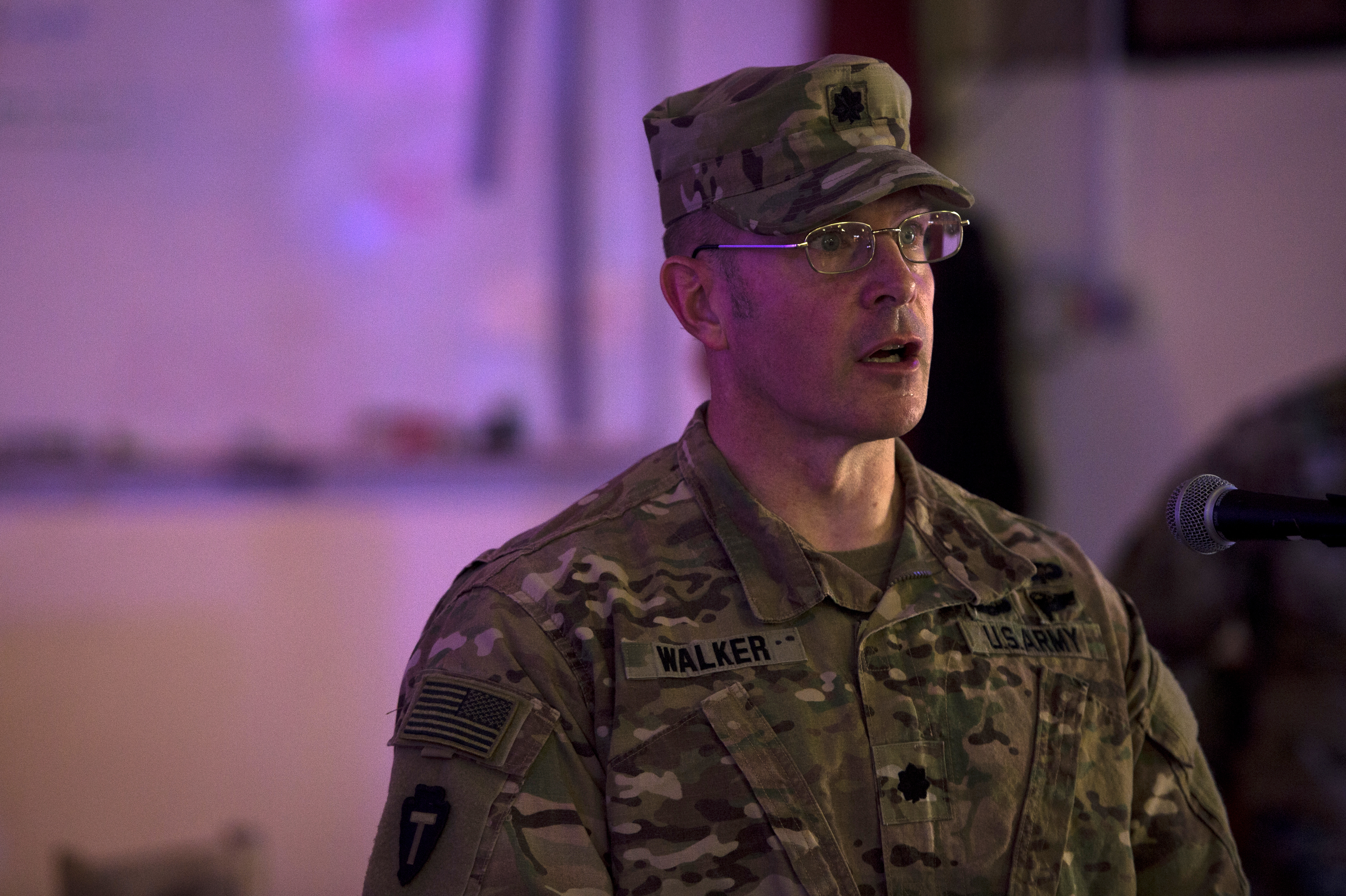 "U.S. Army Lt. Col. Ross Walker, commander, 3rd Battalion, 144th Infantry Regiment, known as ""Task Force Bayonet,"" speaks during the transfer of authority ceremony on Camp Lemonnier, July 5, 2018. Task Force Alamo is taking over authority and command from Task Force Bayonet. (U.S. Air Force photo by Senior Airman Scott Jackson)"