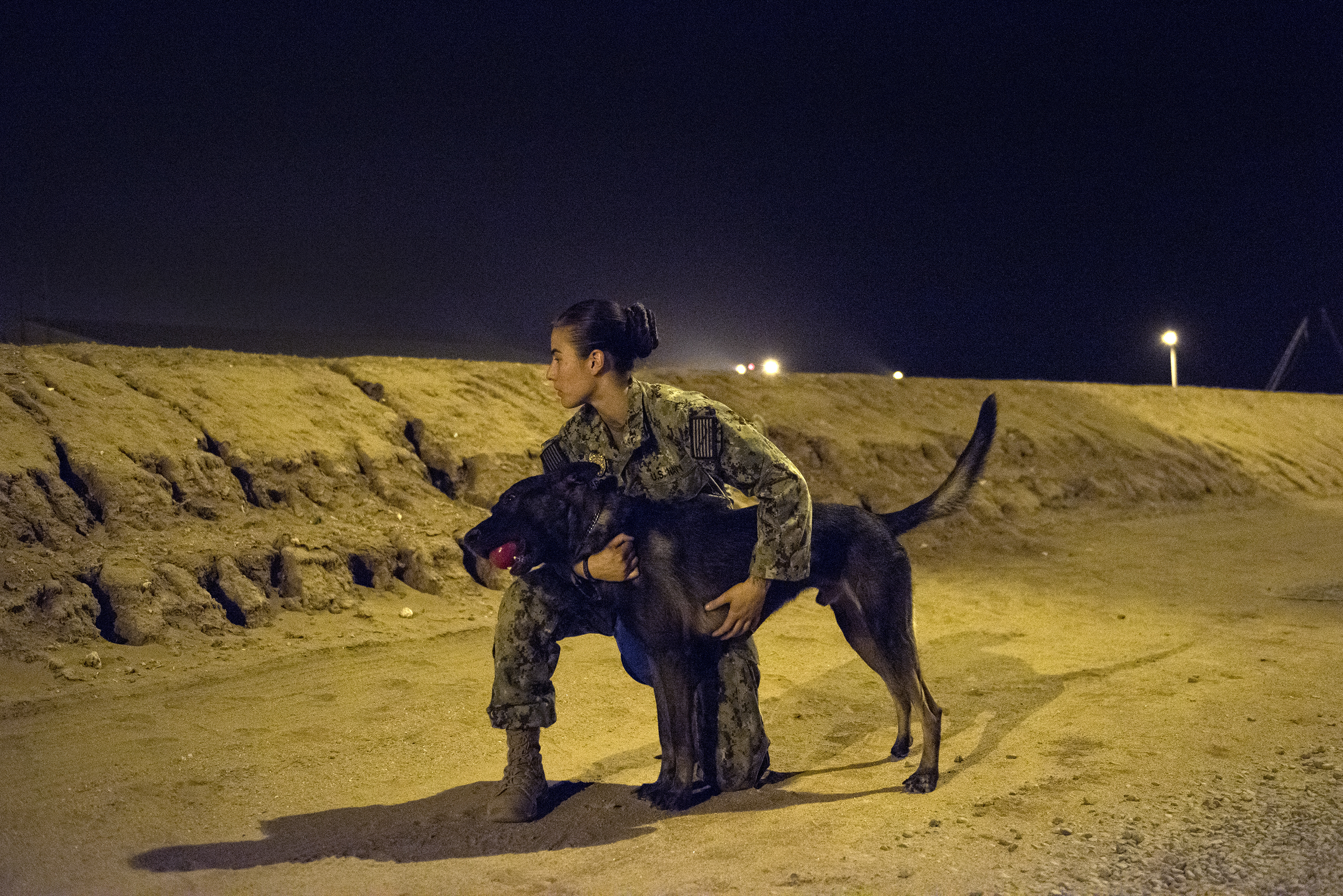 U.S. Navy Master-at-Arms 1st Class Kristina Vargas, a military working dog (MWD) handler rewards MWD Pponder after conducting proficiency training on Camp Lemonnier, Djibouti, July 31, 2018. Military Working Dogs can be used to perform searches, subdue suspects, and detect explosives and narcotics. (U.S. Air National Guard photo by Master Sgt. Sarah Mattison)