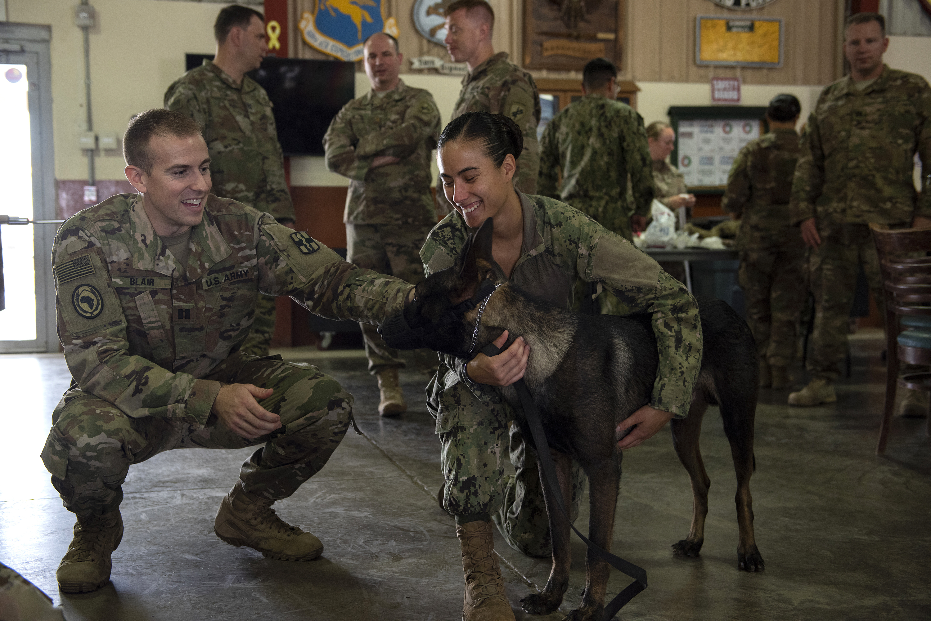 U.S. Army Cpt. Richard Blair, veterinarian, greets U.S. Navy Master-at-Arms 1st Class Kristina Vargas, a military working dog (MWD) handler and MWD Pponder on Camp Lemonnier, Djibouti, Aug. 18, 2018. Blair, Vargas and Pponder were participating in Canine Tactical Combat Casualty Care training for service members. (U.S. Air National Guard photo by Master Sgt. Sarah Mattison)