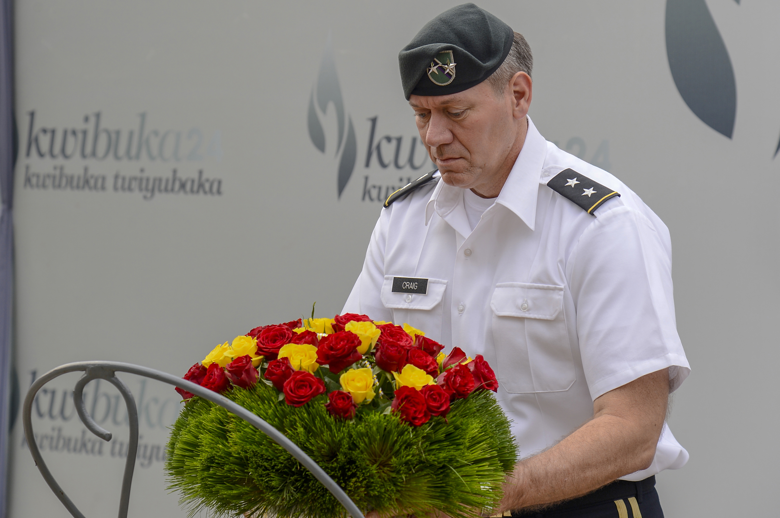 U.S. Army Maj. Gen. James Craig, commanding general of Combined Joint Task Force- Horn of Africa, places a wreath at a tomb of 250,000 Rwandans at the Kigali Genocide Memorial in Kigali, Rwanda, Aug. 29, 2018. Craig visited Rwanda to conduct key leader engagements, meeting with both U.S. and Rwandan top leaders. (U.S. Navy Photo by Mass Communication Specialist 2nd Class Timothy M. Ahearn)