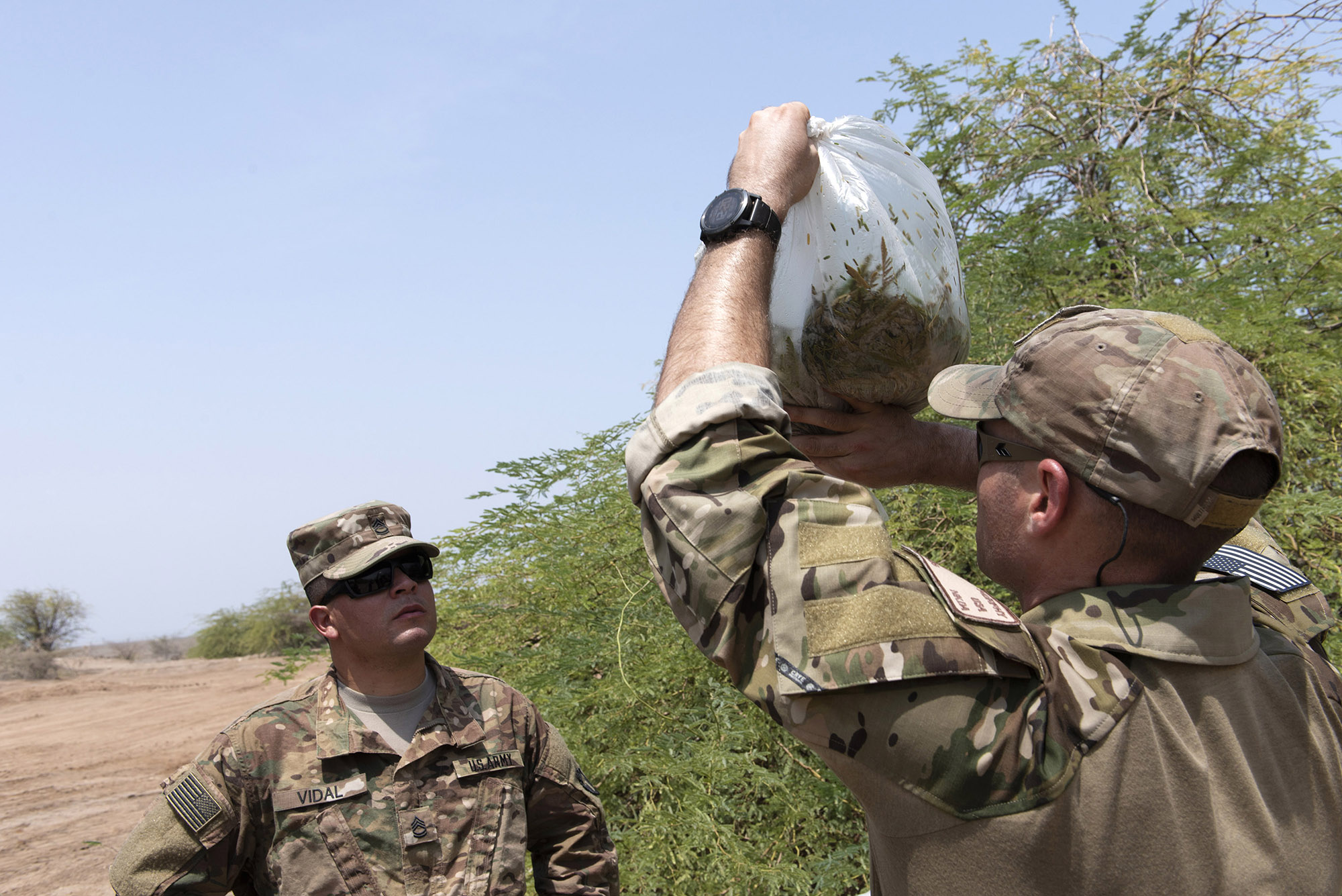 U.S. Air Force Tech. Sgt. Adam Murphy, a survival, evasion, resistance and escape specialist assigned to Combined Joint Task Force-Horn of Africa, holds up a bag of leaves to show U.S. Army Sgt. 1st Class Amando Vidal, a field artillery firefinder radar operator with to 3rd Battalion, 133rd Field Artillery Regiment, Texas National Guard, how much condensation had gathered during survival skills training on Camp Lemonnier, Djibouti, Oct. 13, 2018. Throughout this training, service members performed various skills such as constructing a shelter, finding alternative water sources and signaling for rescue. (U.S. Air National Guard photo by Master Sgt. Sarah Mattison)