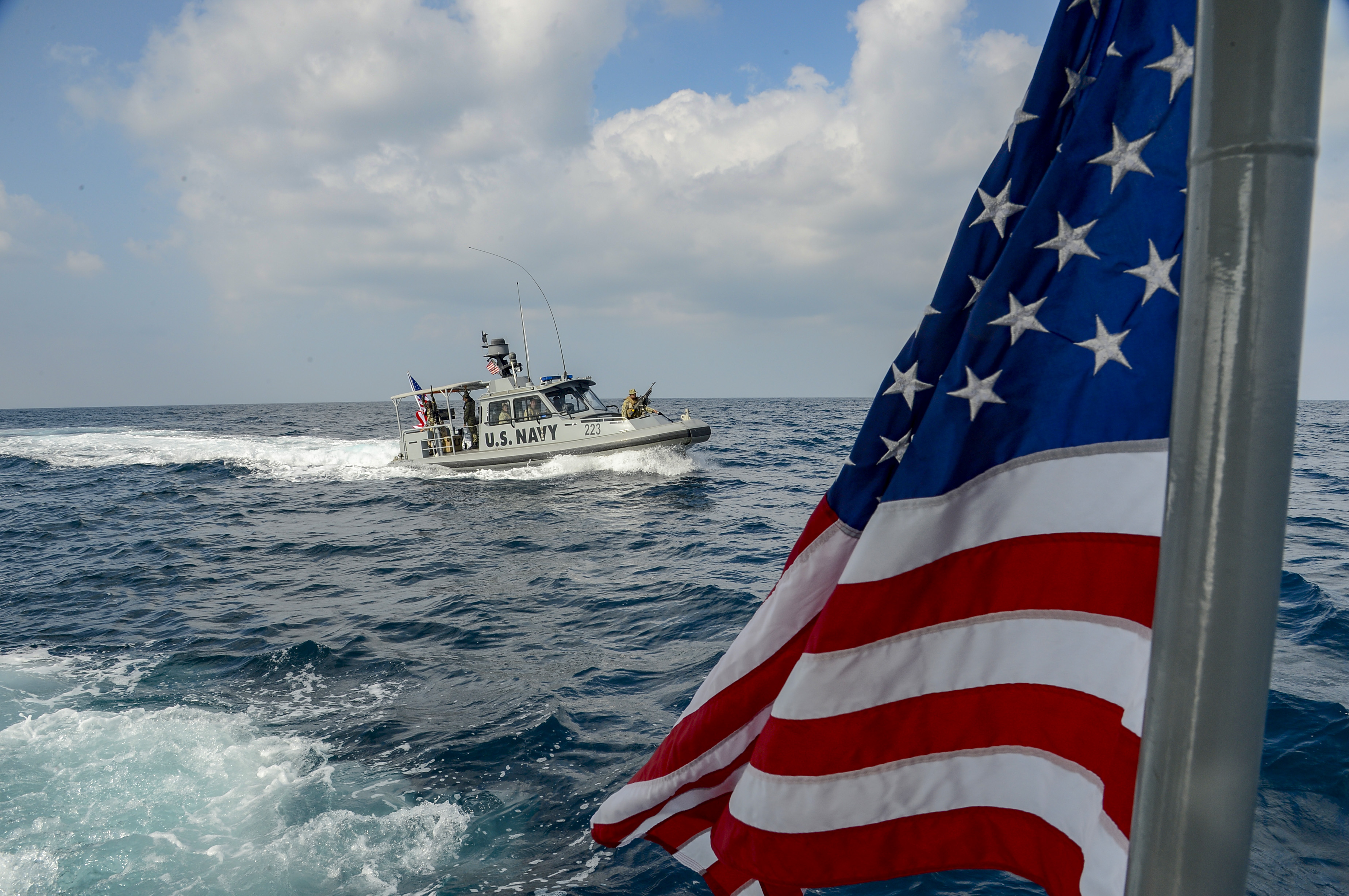 A patrol boat with Coastal Riverine Squadron (CRS) 8 conducts maritime security operations (MSO) in the Gulf of Tadjourah, Oct. 23, 2018. Combined Joint Task Force-Horn of Africa Foreign Liaison Officers observed the operations to better understand MSO and the CRS-8 mission. (U.S. Navy photo by Mass Communication Specialist 2nd Class Timothy M. Ahearn)