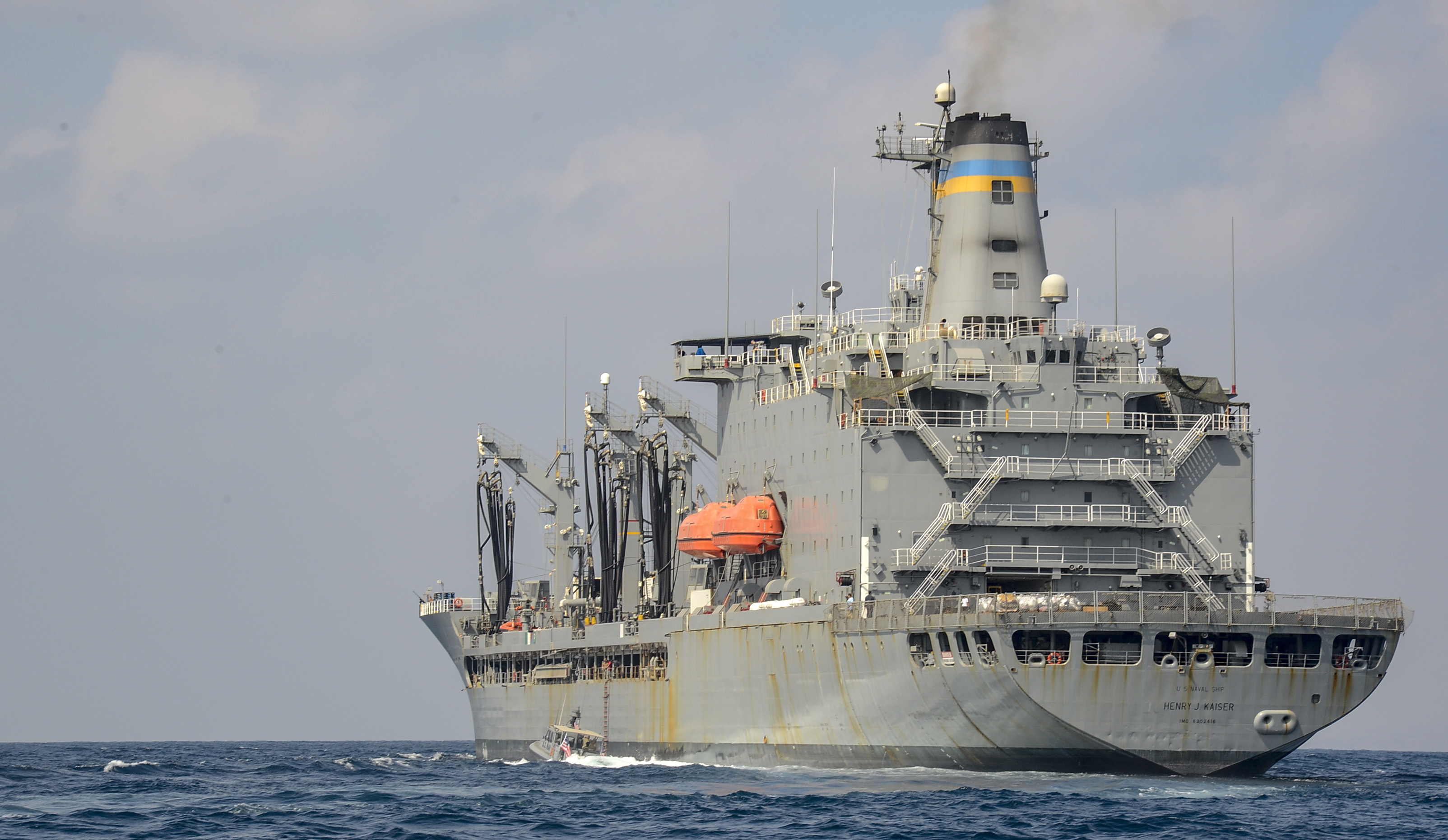 A patrol boat with Coastal Riverine Squadron (CRS) 8 comes alongside the Fleet Replenishment Oiler USNS Henry J. Kaiser (T-AO 187) while conducting maritime security operations (MSO) in the Gulf of Tadjourah, Oct. 23, 2018. Combined Joint Task Force-Horn of Africa Foreign Liaison Officers observed the operations to better understand MSO and the CRS-8 mission. (U.S. Navy photo by Mass Communication Specialist 2nd Class Timothy M. Ahearn)