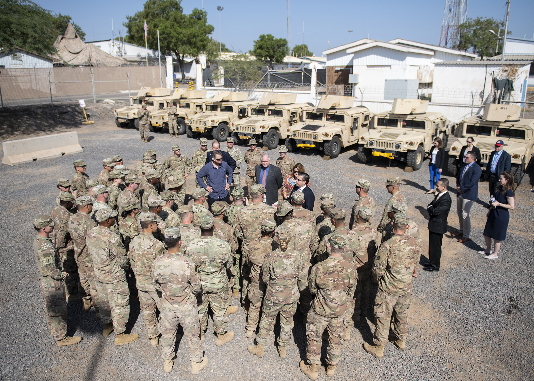 Congressional delegates meet with Task Force Alamo, Texas Army National Guard, Soldiers during a congressional delegation visit at Camp Lemonnier, Djibouti, Nov. 21, 2018. Congressional delegates traveled to Djibouti to visit U.S. forces and embassy officials, and meet with national defense leaders to understand the current posture of readiness and security. (U.S. Air Force photo by Tech. Sgt. Shawn Nickel)