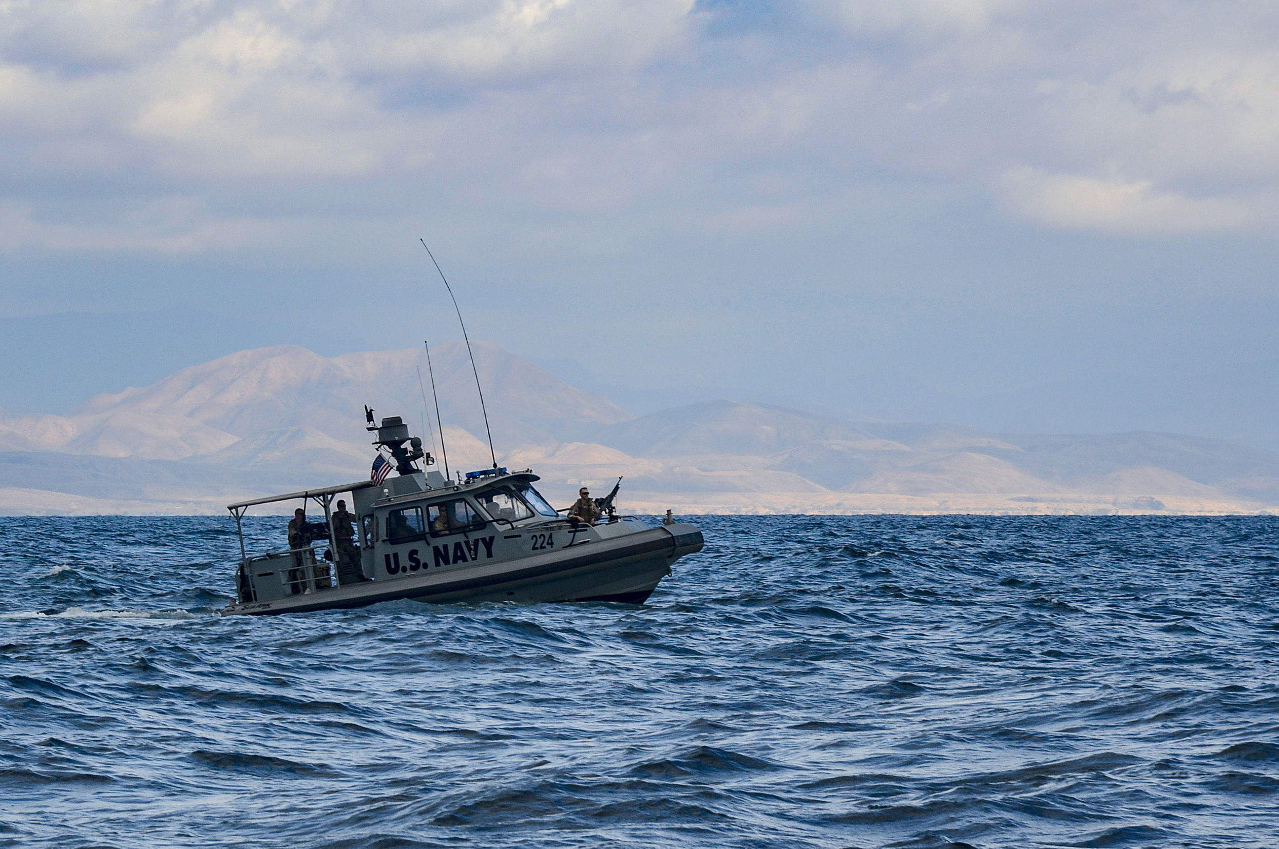 A U.S. Navy tactical patrol boat, assigned to Task Group 68.6 (TG-68.6) from Camp Lemonnier, transits the Gulf of Tadjoura, Nov. 15, 2018. TG-68.6 is forward deployed to the U.S. 6th Fleet area of operations and conducts joint naval operations, often in concert with allied and interagency partners, in order to advance U.S. national interests and security and stability in Europe and Africa. (U.S. Navy photo by Mass Communication Specialist 2nd Class Timothy M. Ahearn)