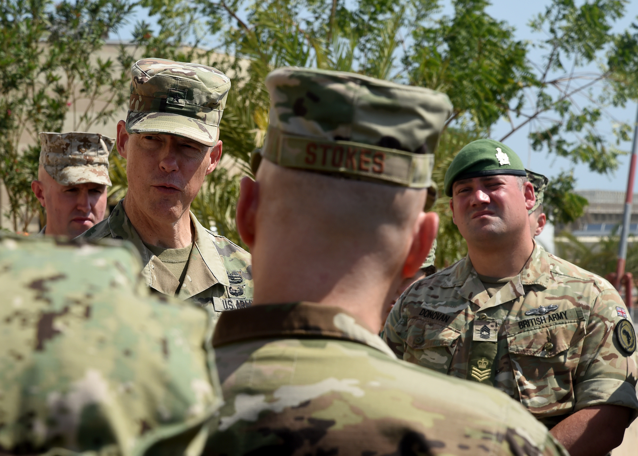 U.S. Army Brig. Gen. William L. Zana (left), deputy commander, Combined Joint Task Force-Horn of Africa, speaks during a ceremony honoring the late U.S. President George H.W. Bush at Camp Lemonnier, Djibouti, Dec. 5, 2018. (U.S. Navy Photo by Mass Communication Specialist 1st Class Nick Scott/released)