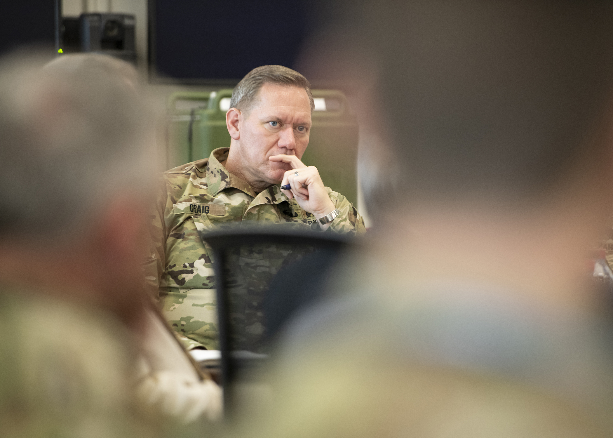 "U.S. Army Maj. Gen. James D. Craig, left, commanding general, Combined Joint Task Force-Horn of Africa (CJTF-HOA), listens to a briefing titled ""Triggers of Regional Instability"" during the East Africa Security Forum (EASF) at Camp Lemonnier, Djibouti, Dec. 11, 2018. The EASF is an annual opportunity for CJTF-HOA and interagency leaders to sync, assess and align efforts to develop synchronized courses of action that support common goals. (U.S. Air Force photo by Tech. Sgt. Shawn Nickel)"