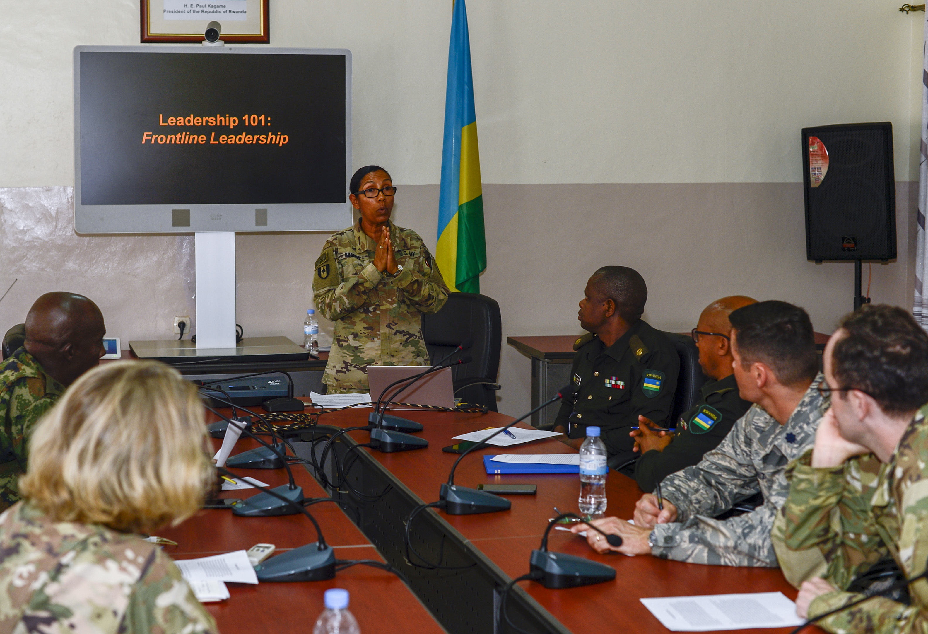 U.S. Army Maj. Dionicia Russell, a public health nurse assigned to the 403rd Civil Affairs Battalion functional specialty team, assigned to Combined Joint Task Force-Horn of Africa (CJTF-HOA), Camp Lemonnier, Djibouti, presents a leadership seminar at the Rwanda Military Hospital (RMH) in Kigali, Rwanda, Nov. 27, 2018. Russell was at RMH participating in a weeklong subject matter expert exchange alongside U.S. military medical personnel assigned CJTF-HOA and Landstuhl Regional Health Center, Germany. (U.S. Navy photo by Mass Communication Specialist 2nd Class Timothy M. Ahearn)