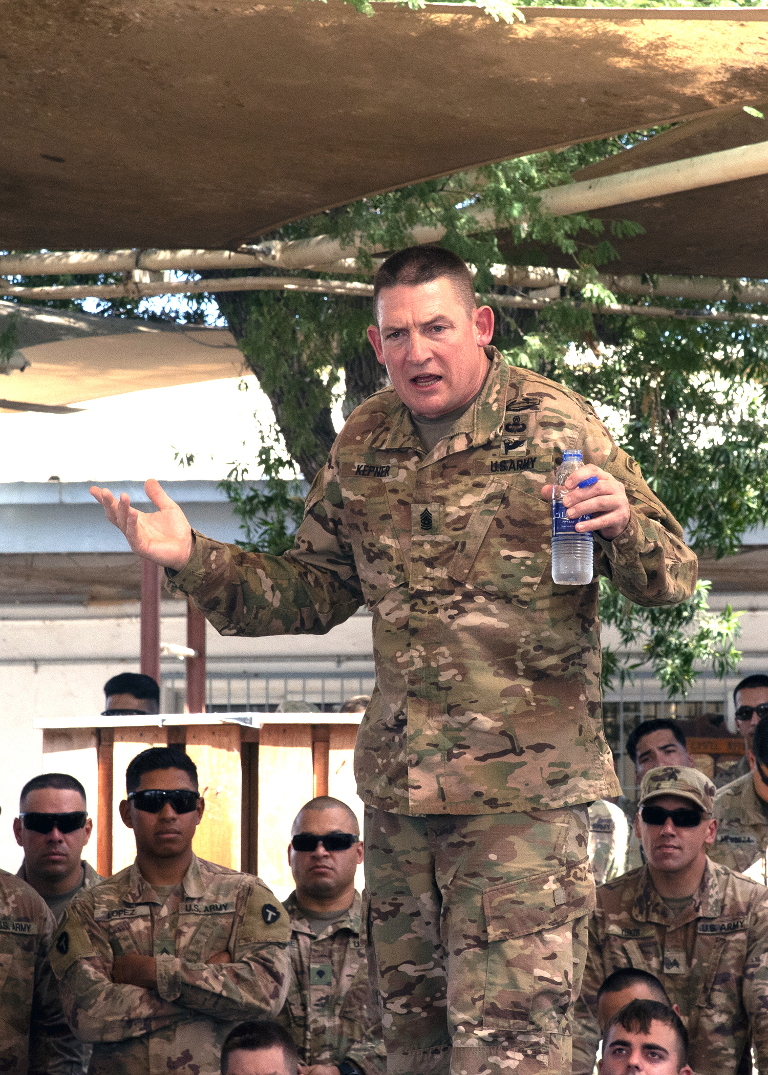 U.S. Army Command Sgt. Maj. Christopher Kepner, the command sergeant major of the National Guard Bureau, speaks to National Guardsmen deployed to Combined Joint Task Force-Horn of Africa (CJTF-HOA) from the 1-141st Infantry Regiment, Task Force Alamo, Texas National Guard, Jan. 18, 2019, at Camp Lemonnier, Djibouti. Of the nearly 2,000 service members assigned to CJTF-HOA, 43 percent of them are National Guard members. (U.S. Air Force photo by Master Sgt. Amanda Currier)