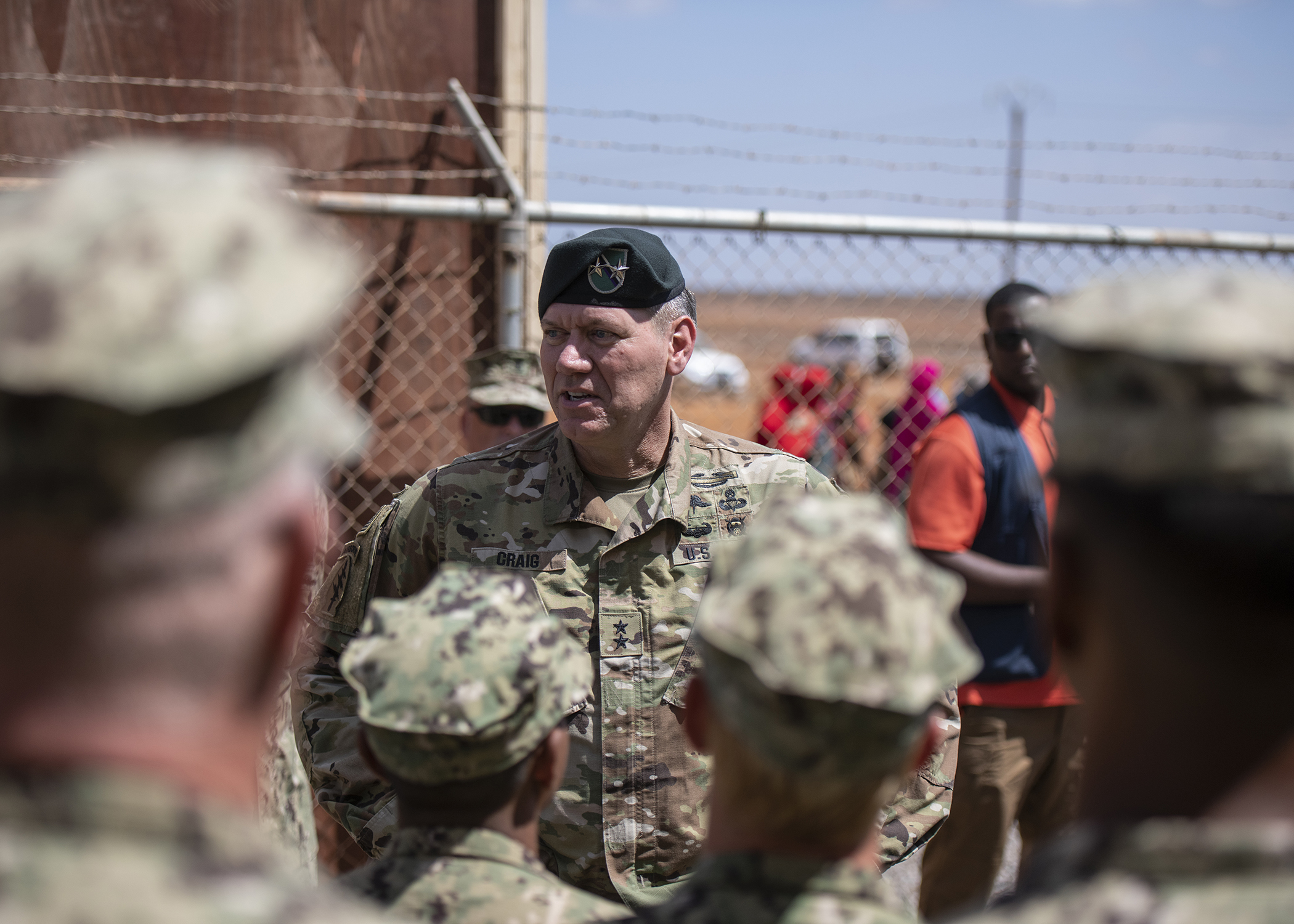 U.S. Army Maj. Gen. James D. Craig, commanding general, Combined Joint Task Force-Horn of Africa (CJTF-HOA), speaks to U.S. Navy Seabees from Naval Mobile Construction Battalion 1, assigned to CJTF-HOA, during the Ali Oune Medical Clinic ribbon cutting ceremony in Ali Oune, Djibouti, Jan. 31, 2019. The clinic, which the Seabees have been working to complete for five months, is intended to enhance the Ministry of Health for Djibouti's ability to provide basic medical, birth and after care to the Ali Oune village and its more than 1,000 residents and rural neighbors. (U.S. Air Force photo by Tech. Sgt. Shawn Nickel)