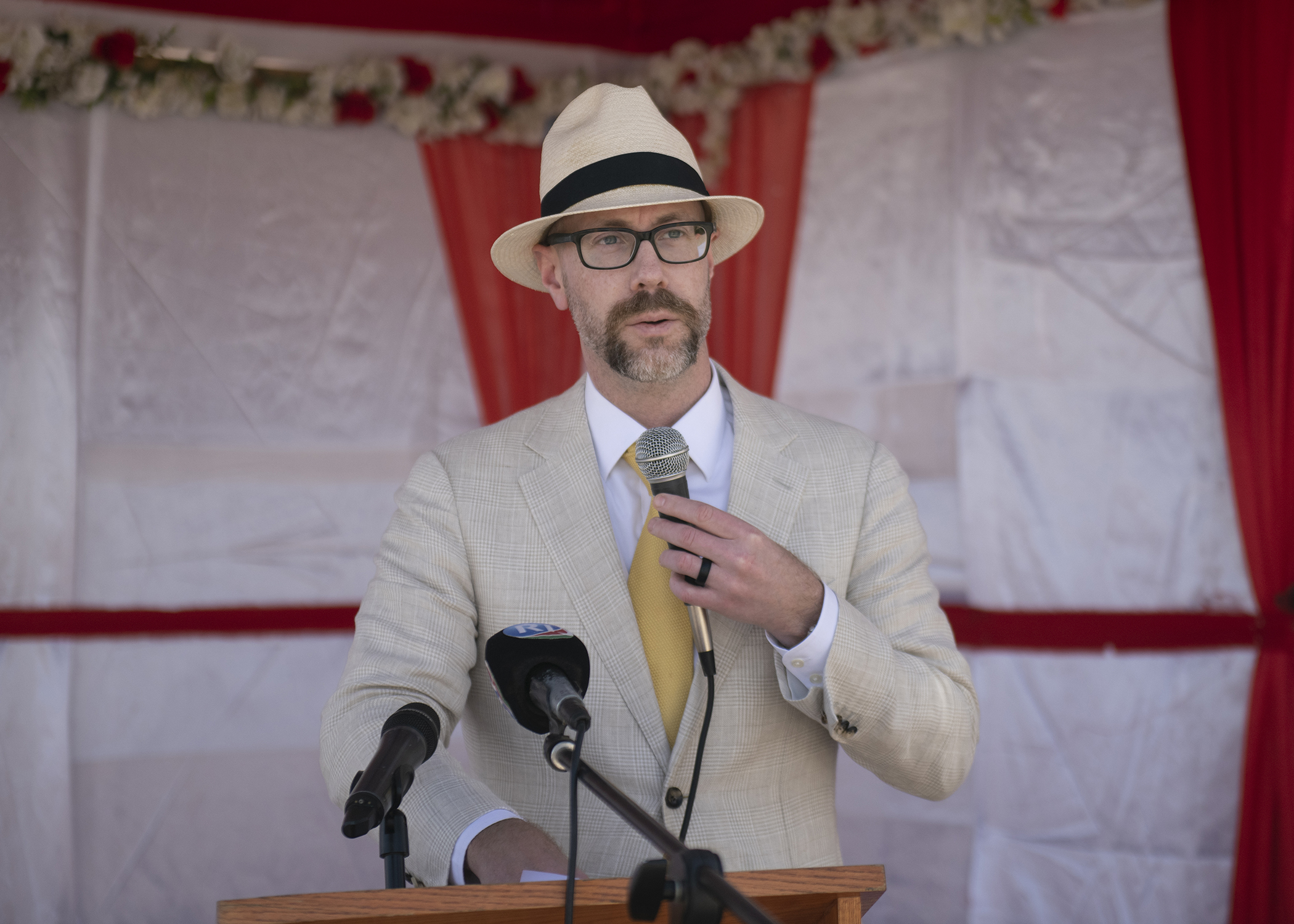 Alexander Hamilton, chargé d' affaires to the U.S. Ambassador to Djibouti, gives a speech during the Ali Oune Medical Clinic ribbon cutting ceremony in Ali Oune, Djibouti, Jan. 31, 2019. The clinic, which U.S. Navy Seabees from Naval Mobile Construction Battalion 1, assigned to CJTF-HOA, have been working to complete for five months, is intended to enhance the Ministry of Health for Djibouti's ability to provide basic medical, birth and after care to the Ali Oune village and its more than 1,000 residents and rural neighbors. (U.S. Air Force photo by Tech. Sgt. Shawn Nickel)