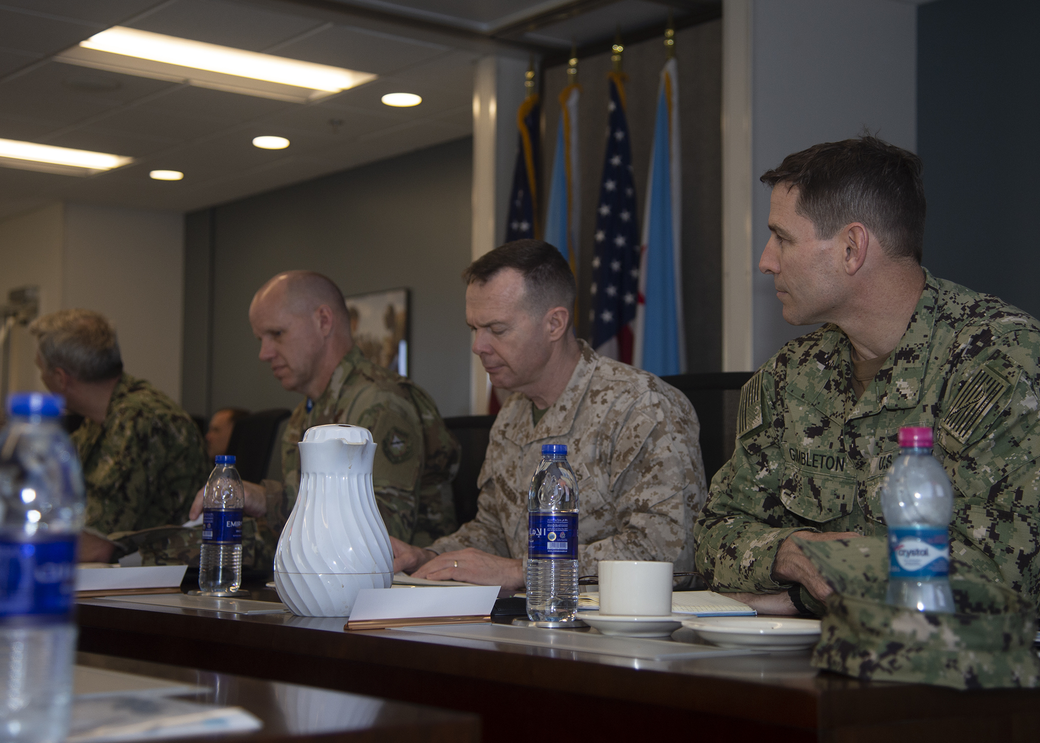 U.S. military senior officers participate in the Capstone Military Leadership Program classroom session at Camp Lemonnier, Djibouti, Feb. 13, 2019. Capstone is a joint-service professional military education course for newly-promoted brigadier generals and rear admirals serving in the U.S. military. (U.S. Navy photo by Mass Communication Specialist 1st Class Nick Scott)