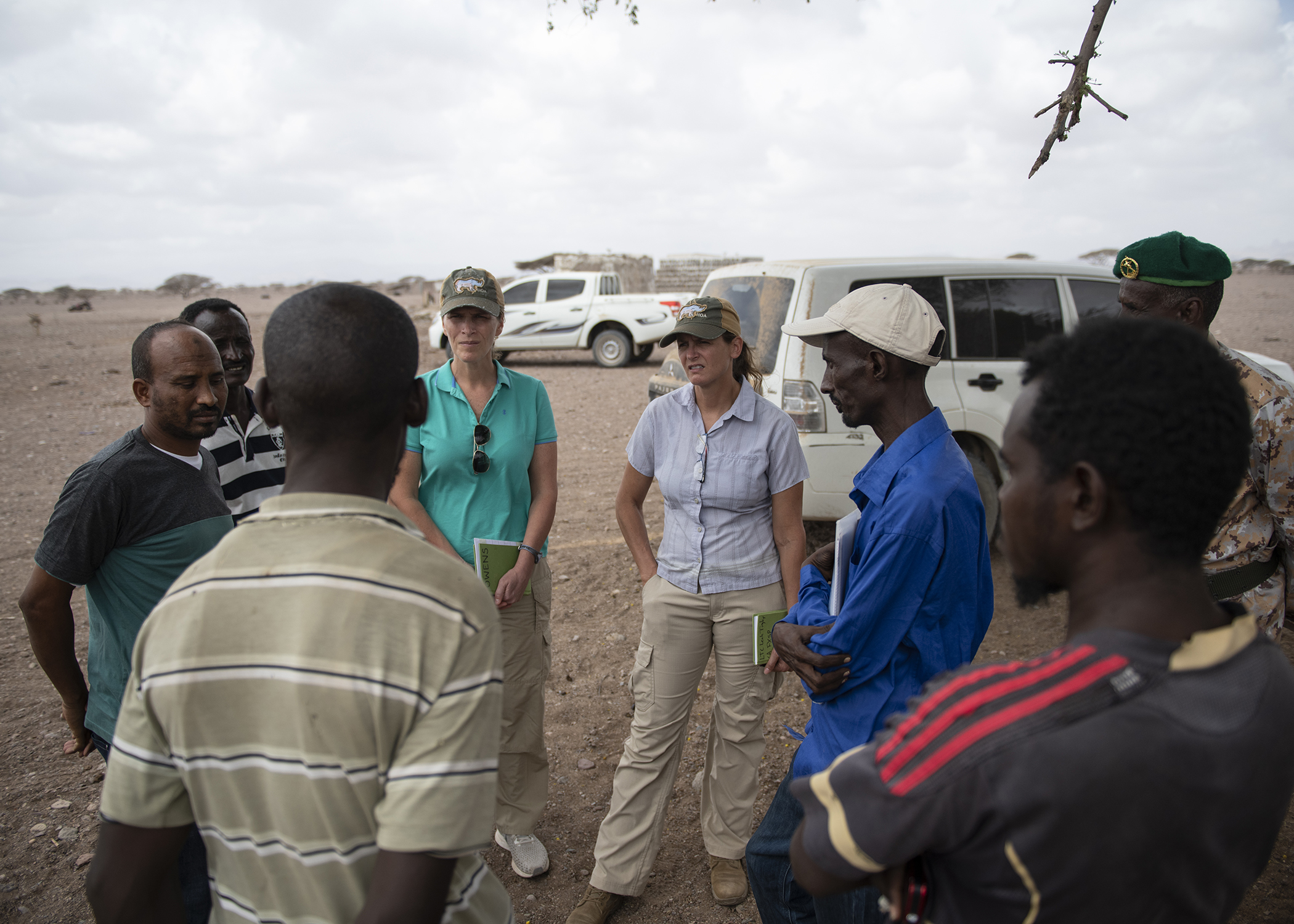 U.S. Soldiers with the 403rd Civil Affairs Battalion, Functional Specialty Cell's Veterinary Team, assigned to Combined Joint Task Force-Horn of Africa, engaged local pastoralists to promote better herd-health management and facilitate communication for further engagements during a veterinary civic action project (VETCAP) in Oulma, Djibouti, on Feb. 14, 2019. The purpose of Civil Affairs VETCAPs is to build relationships with local community animal health workers and the Djiboutian Ministry of Livestock via animal health surveillance, and to improve knowledge, skills, livestock medicine and best practices. (U.S. Air Force photo by Tech. Sgt. Shawn Nickel)