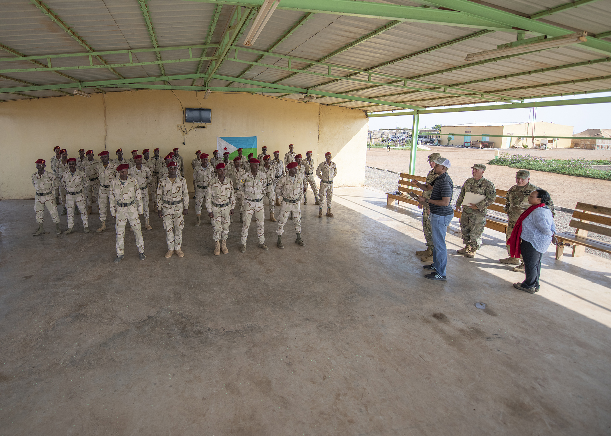 Rapid Intervention Battalion (RIB) soldiers from the Djiboutian army's elite military force stand in formation during an NCO course graduation at a training location near Djibouti, March 7, 2019. U.S. Soldiers with 1-26 Infantry Battalion, 2nd Brigade Combat Team, 101st Airborne, assigned to Combined Joint Task Force-Horn of Africa, taught the course to the RIB soldiers. (U.S. Air Force photo by Tech. Sgt. Shawn Nickel)