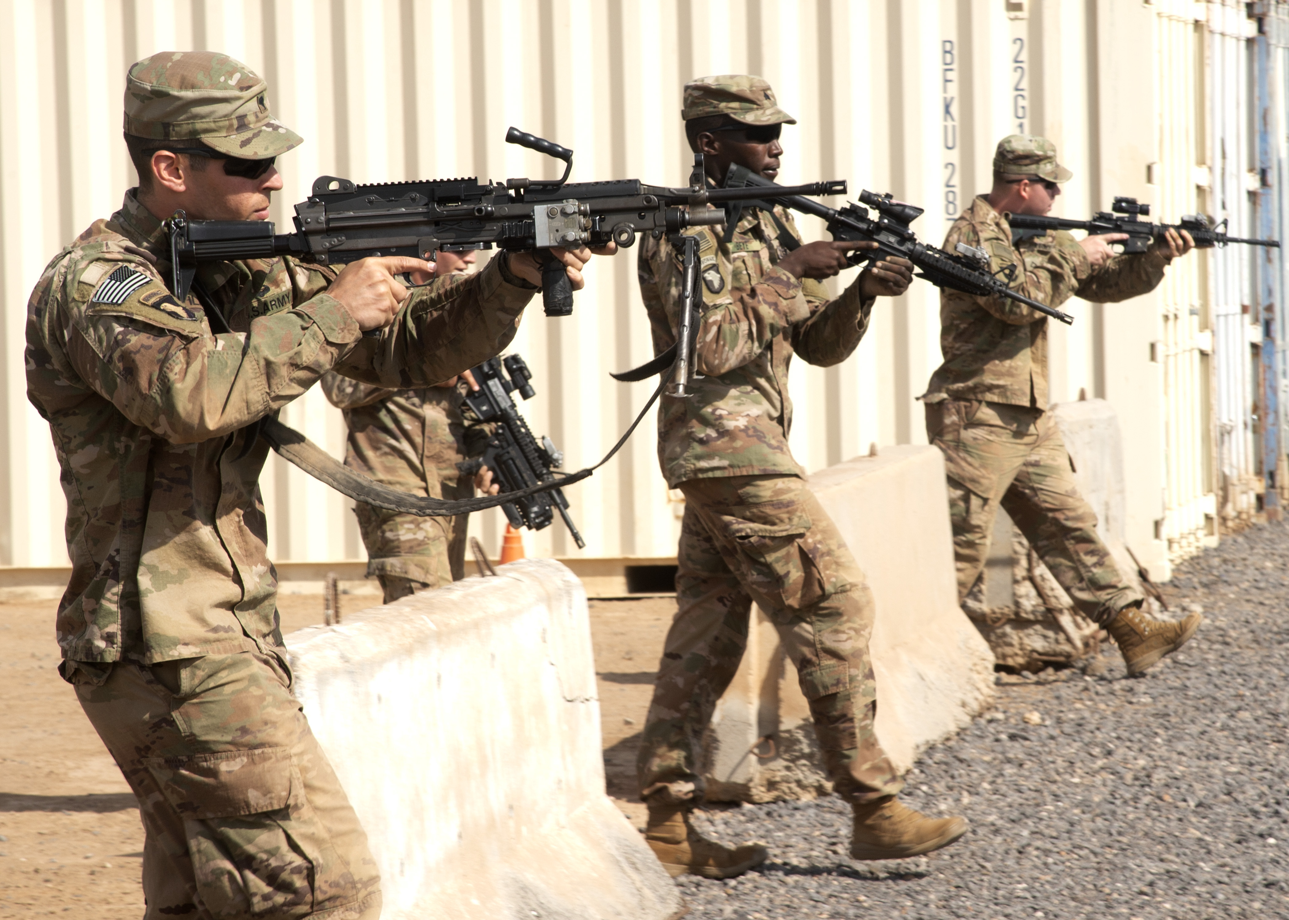 Viper Company, 1-26 Infantry, 101st Airborne Division (Air Assault), with the East Africa Response Force (EARF) assigned to Combined Joint Task Force-Horn of Africa, respond to simulated gunfire at Camp Lemonnier, Djibouti, Feb. 8, 2019. The purpose of the EARF is to rapidly provide tailorable packages of forces to protect American interests on the African continent should any threats arise. (U.S. Navy Photo by Mass Communication Specialist 1st Class Nick Scott)