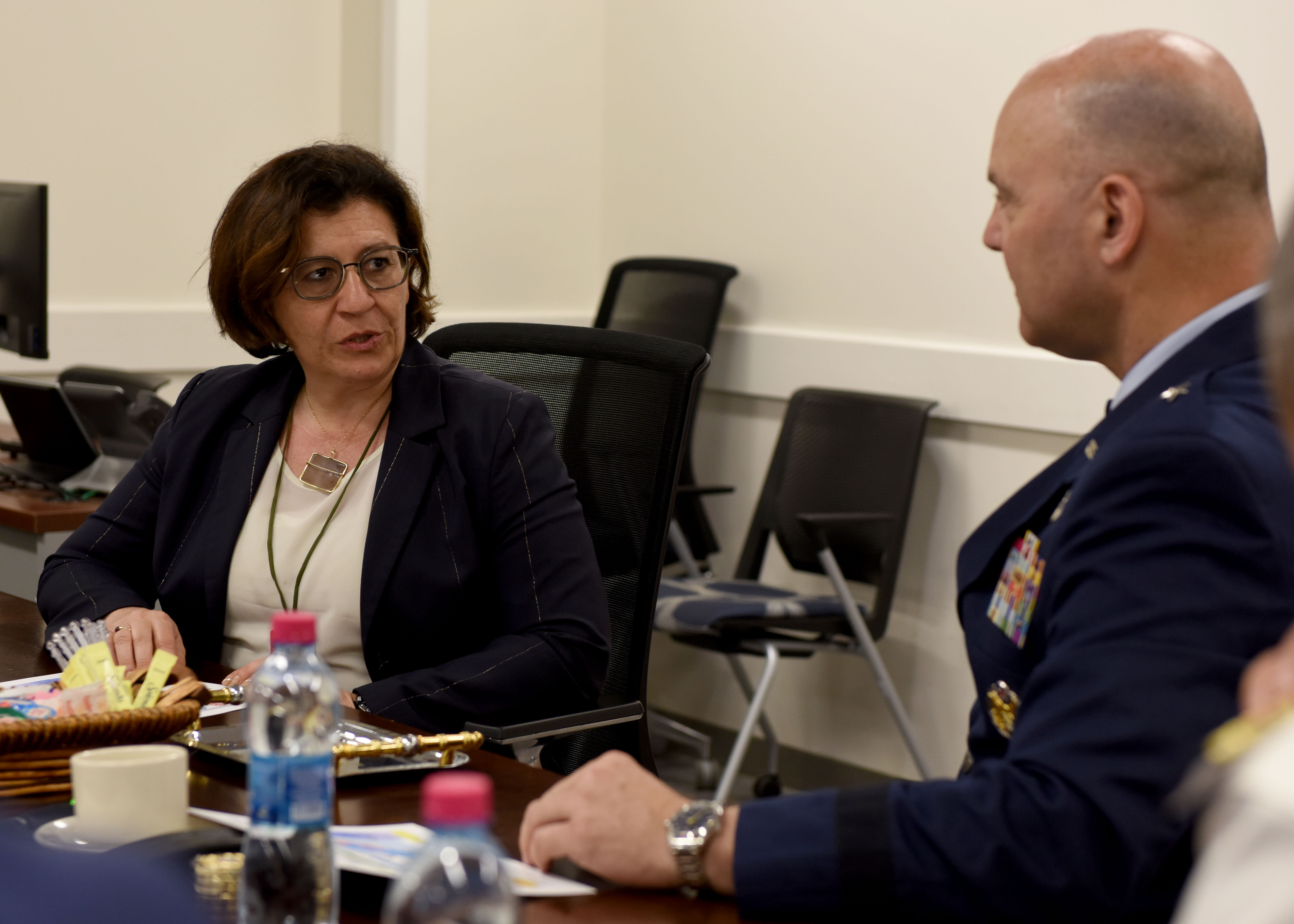 Elisabetta Trenta, Italian Minister of Defense, left, speaks to U.S. Air Force Brig. Gen. James R. Kriesel, deputy commanding general of Combined Joint Task Force-Horn of Africa (CJTF- HOA), to gain insight into the partnership between the two nations on the African continent during her visit to Camp Lemonnier, Djibouti, April 9, 2019. Trenta visited CJTF-HOA to gain insight on how U.S. forces operate in the combined joint operations area and to foster relations. (U.S. Air Force Photo by Staff Sgt. Franklin R. Ramos)