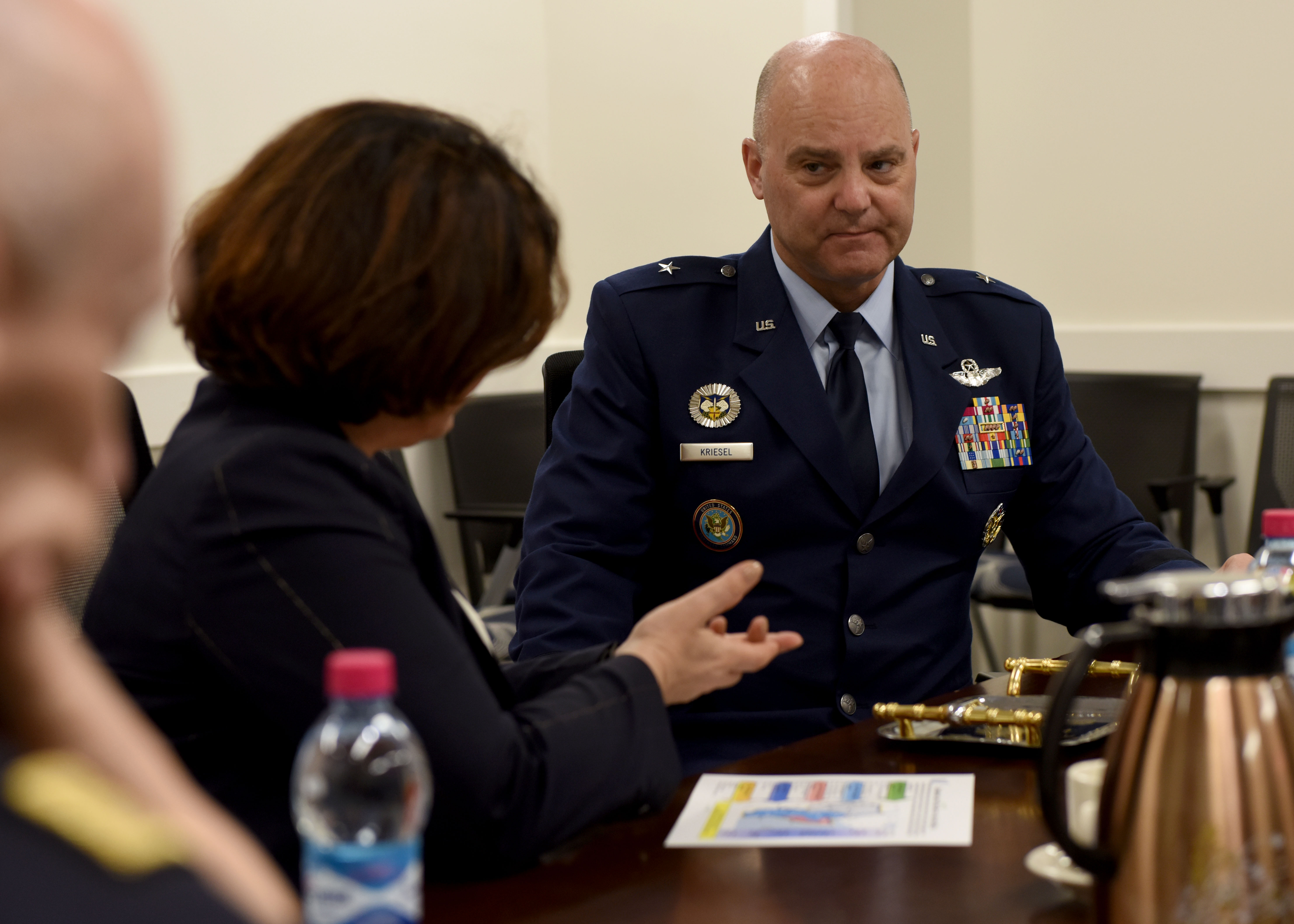 U.S. Air Force Brig. Gen. James R. Kriesel, right, deputy commanding general of Combined Joint Task Force-Horn of Africa (CJTF-HOA), listens to Elisabetta Trenta, Italian Minister of Defence, during her visit to Camp Lemonnier, Djibouti, April 9, 2019. Trenta visited CJTF-HOA to gain insight on how U.S. forces operate in the combined joint operations area and to foster relations. (U.S. Air Force Photo by Staff Sgt. Franklin R. Ramos)