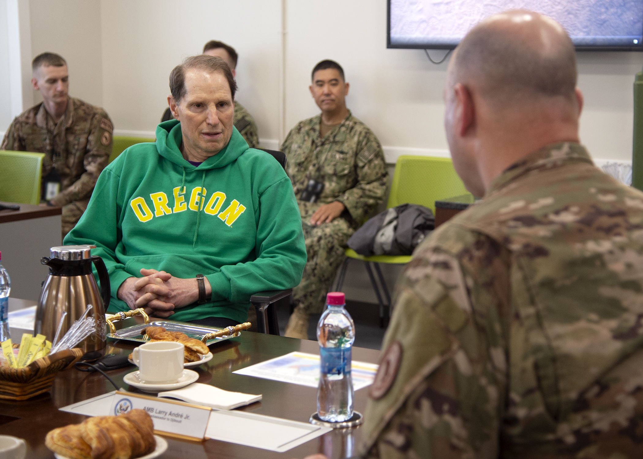 U.S. Sen. Ron Wyden, left, (D-OR) speaks with U.S. Air Force Brig. Gen. James R. Kriesel, right, deputy commanding general of Combined Joint Task Force-Horn of Africa (CJTF-HOA), during a briefing at CJTF-HOA, Djibouti, April 26, 2019. Wyden traveled to Djibouti to visit U.S. forces and embassy officials and to meet with national defense leaders to understand the current posture of readiness and security. (U.S. Navy photo by Mass Communication Specialist 1st Class Nick Scott)