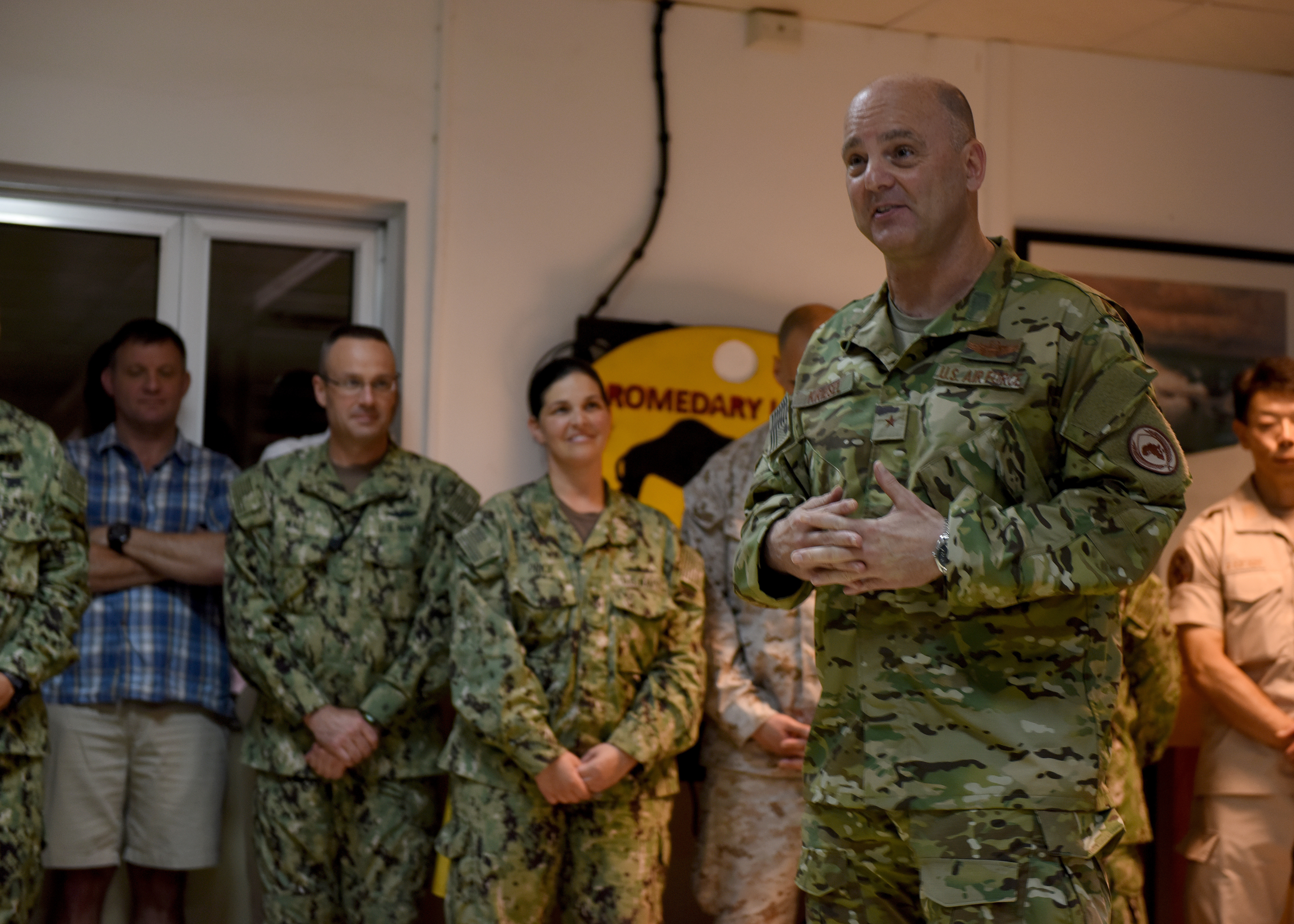 U.S. Air Force Brig. Gen. James R. Kriesel, deputy commanding general of Combined Joint Task Force-Horn of Africa (CJTF-HOA), speaks to multinational military partners during a CJTF-HOA cultural exchange event at Camp Lemonnier, Djibouti, April 24, 2019. CJTF-HOA holds monthly exchange events with multinational military partners affiliated with Camp Lemonnier to strengthen alliances and attract new partners in the combined joint military environment. (U.S. Air Force Photo by Staff Sgt. Franklin R. Ramos)