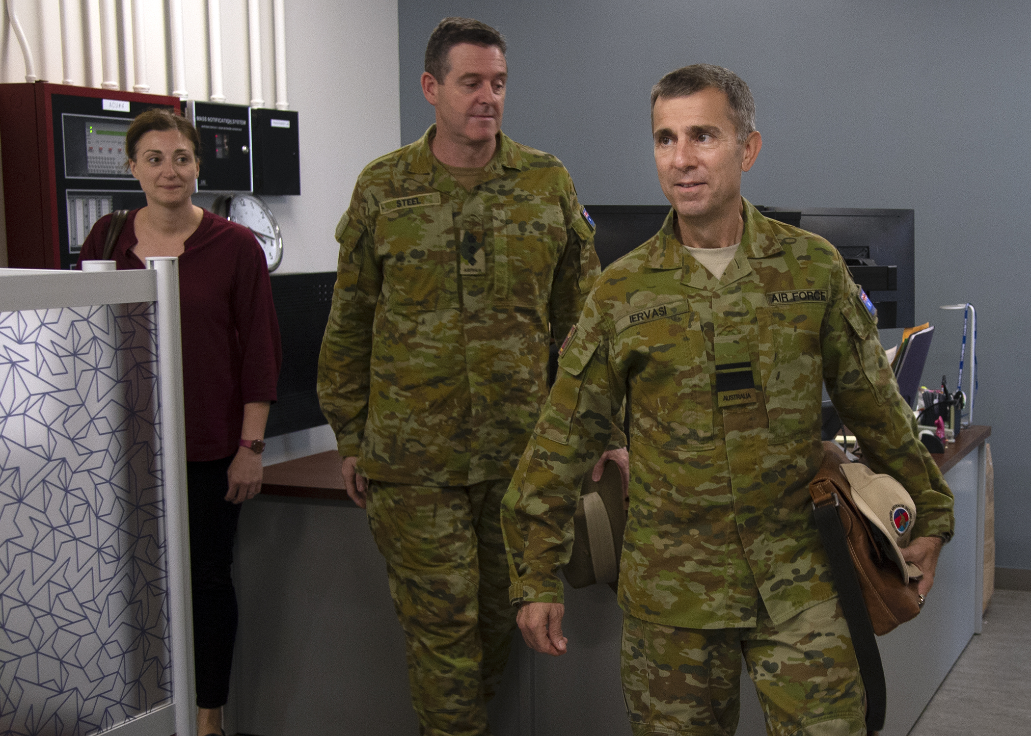 Royal Australian air force Air Vice-Marshal Vincent Iervasi, right, arrives at Combined Joint Task Force-Horn of Africa (CJTF-HOA) to meet with CJTF-HOA leadership at Camp Lemonnier, Djibouti, May 7, 2019. Iervasi visited CJTF-HOA to discuss the continued partnership in Africa between Australia and the United States. (U.S. Navy photo by Mass Communication Specialist 1st Class Nick Scott)