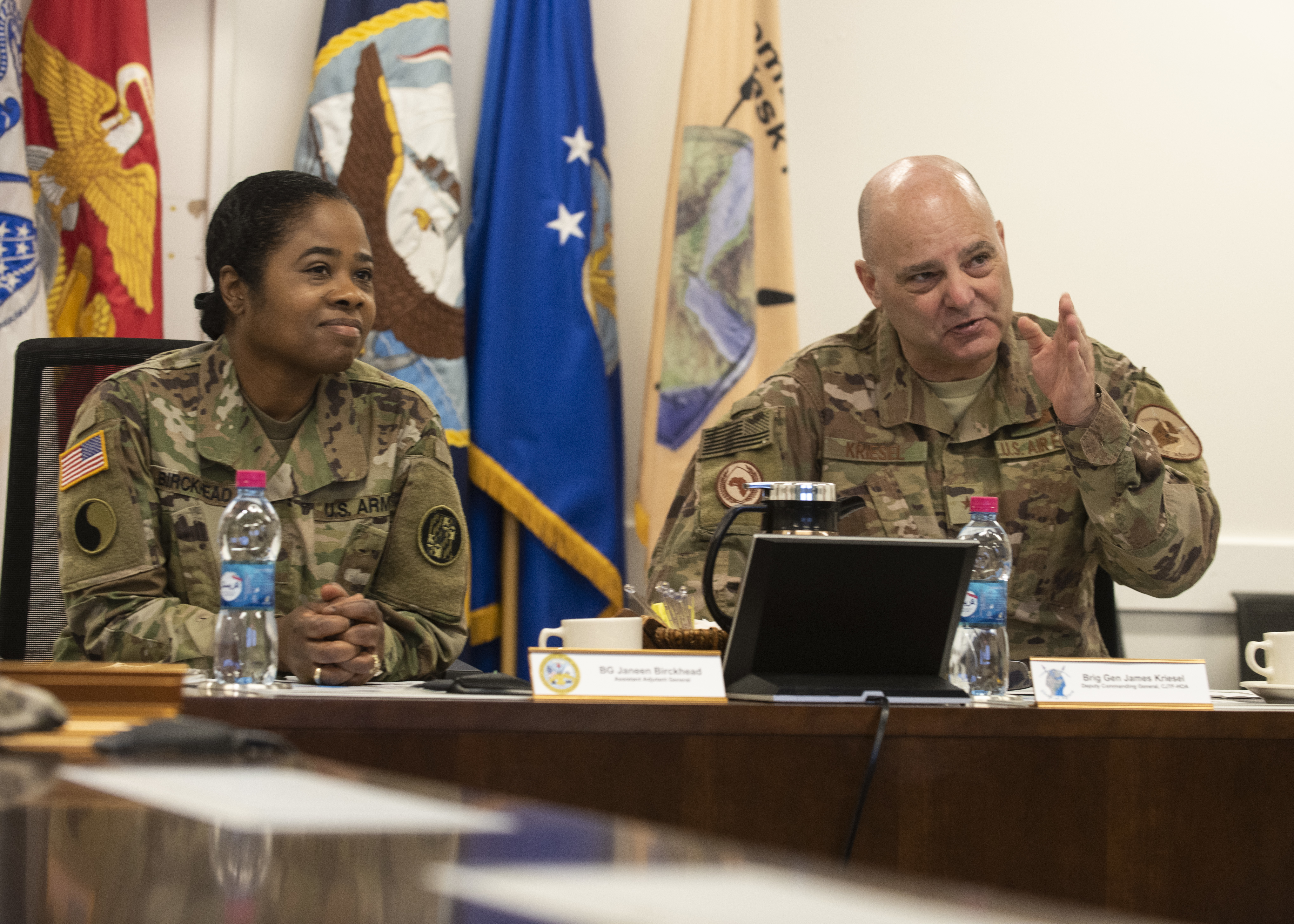 U.S. Air Force Brig. Gen. James R. Kriesel, right, deputy commanding general of Combined Joint Task Force-Horn of Africa (CJTF-HOA), briefs U.S. Army Brig. Gen. Janeen Birckhead, assistant adjutant general for the Maryland Army National Guard, during her visit to Camp Lemonnier, Djibouti, May 20, 2019. For more than seven years, the U.S. Army National Guard has been providing information operations detachments on nine-month rotations to CJTF-HOA. (U.S. Air Force Photo by Staff Sgt. Franklin R. Ramos)