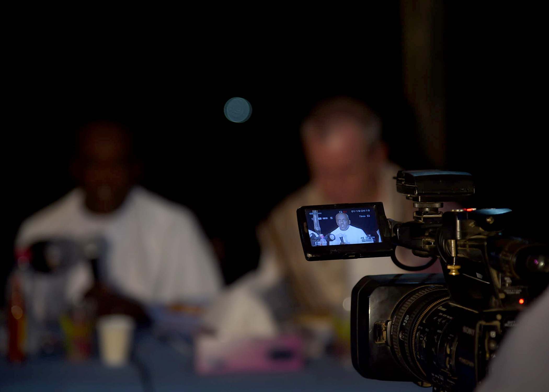 Hassan Debaleh Ahmed, prefet, or regional representative, for Obock, Djibouti, gives a speech for Djiboutian media during an Iftar celebration in Obock, May 14, 2019. Iftar is a fast-breaking meal Muslims eat after sunset during Ramadan, the ninth month of the Islamic year observed with daily fasting from dawn to sunset. Staff from the U.S. Embassy Djibouti and Combined Joint Task Force-Horn of Africa coordinated the event. (U.S. Navy photo by Mass Communication Specialist 1st Class Nick Scott)
