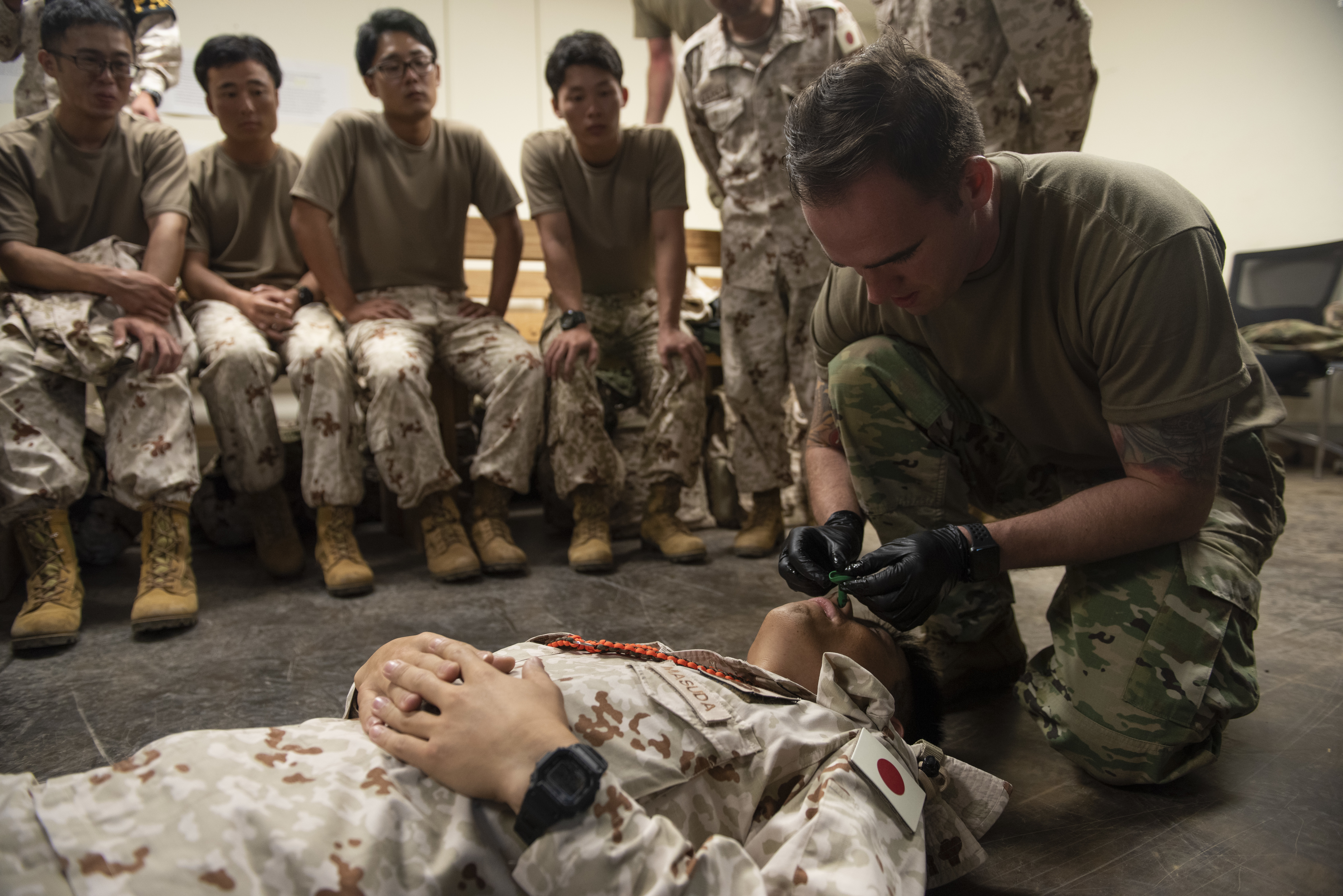 U.S. Army Sgt. Barrey Paddock, senior medic for Delta Company, 403rd Civil Affairs Battalion, assigned to Combined Joint Task Force-Horn of Africa,