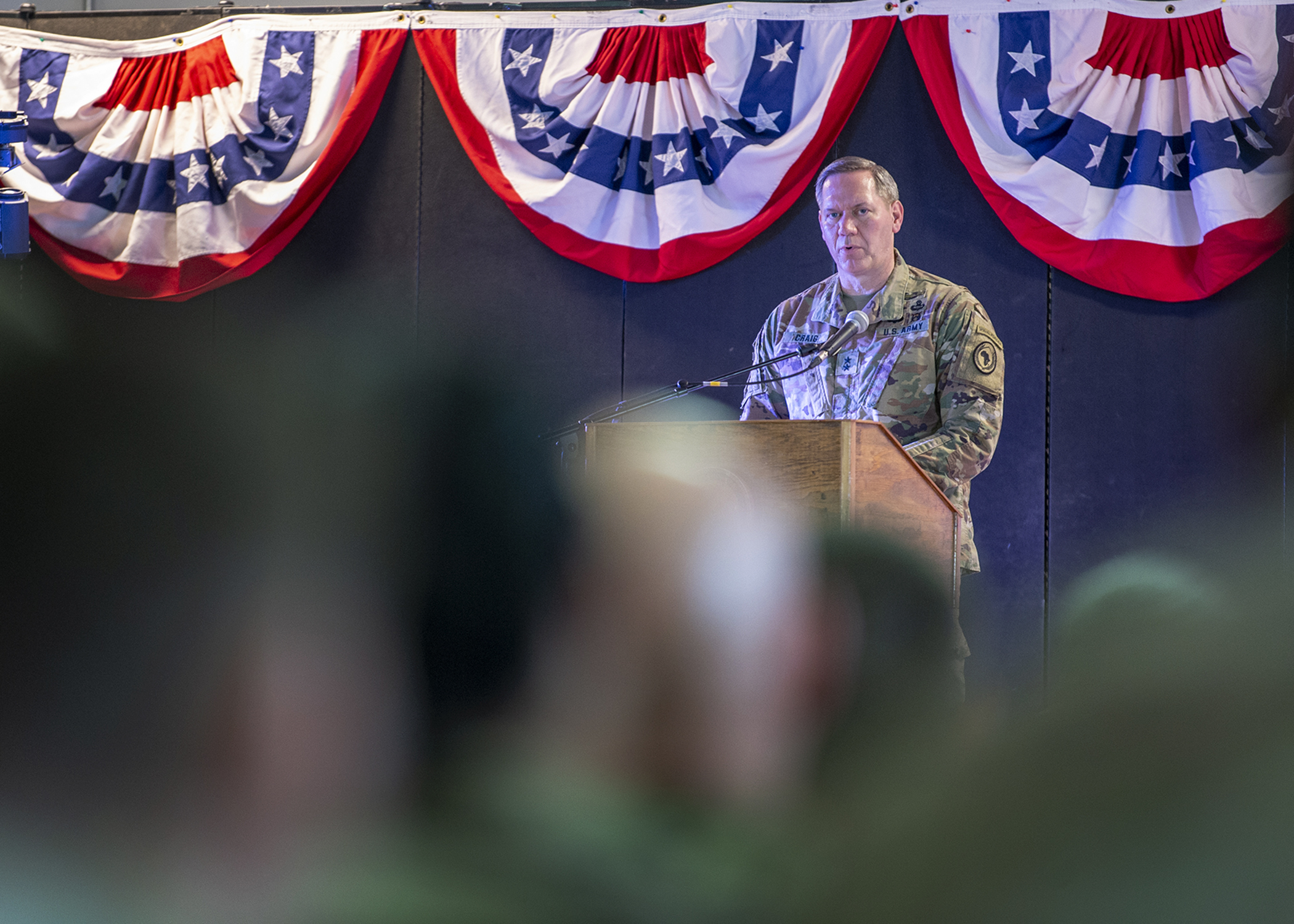 U.S. Army Maj. Gen. James D. Craig, outgoing commanding general of Combined Joint Task Force-Horn of Africa (CJTF-HOA), gives remarks during a change of command ceremony at Camp Lemonnier, Djibouti, June 12, 2019. Craig transferred command to U.S. Army Maj. Gen. Michael D. Turello in the ceremony with U.S. Marine Corps Gen. Thomas Waldhauser, commander of U.S. Africa Command, as the presiding officer. (U.S. Air Force photo by Tech. Sgt. Shawn Nickel)