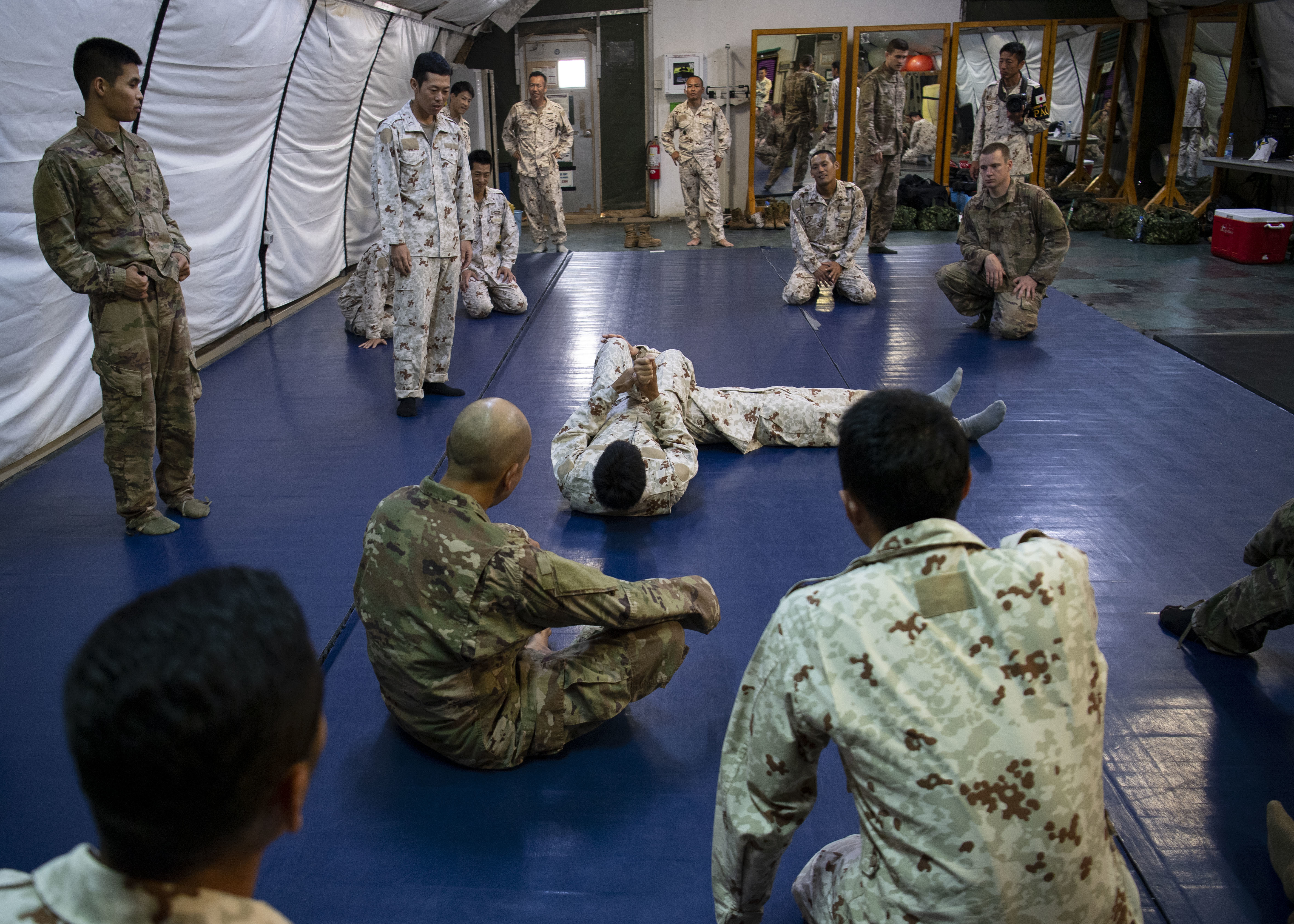 U.S. Army Soldiers assigned to Combined Joint Task Force-Horn of Africa (CJTF-HOA) and Japanese Ground Self-Defense Force (JGSDF) soldiers grapple during a combatives exchange at Camp Lemonnier, Djibouti, July 1, 2019. The purpose of the joint exchange was to share Japanese combative techniques and forge relationships between CJTF-HOA and the JGSDF. (U.S. Air Force photo by Staff Sgt. J.D. Strong II)