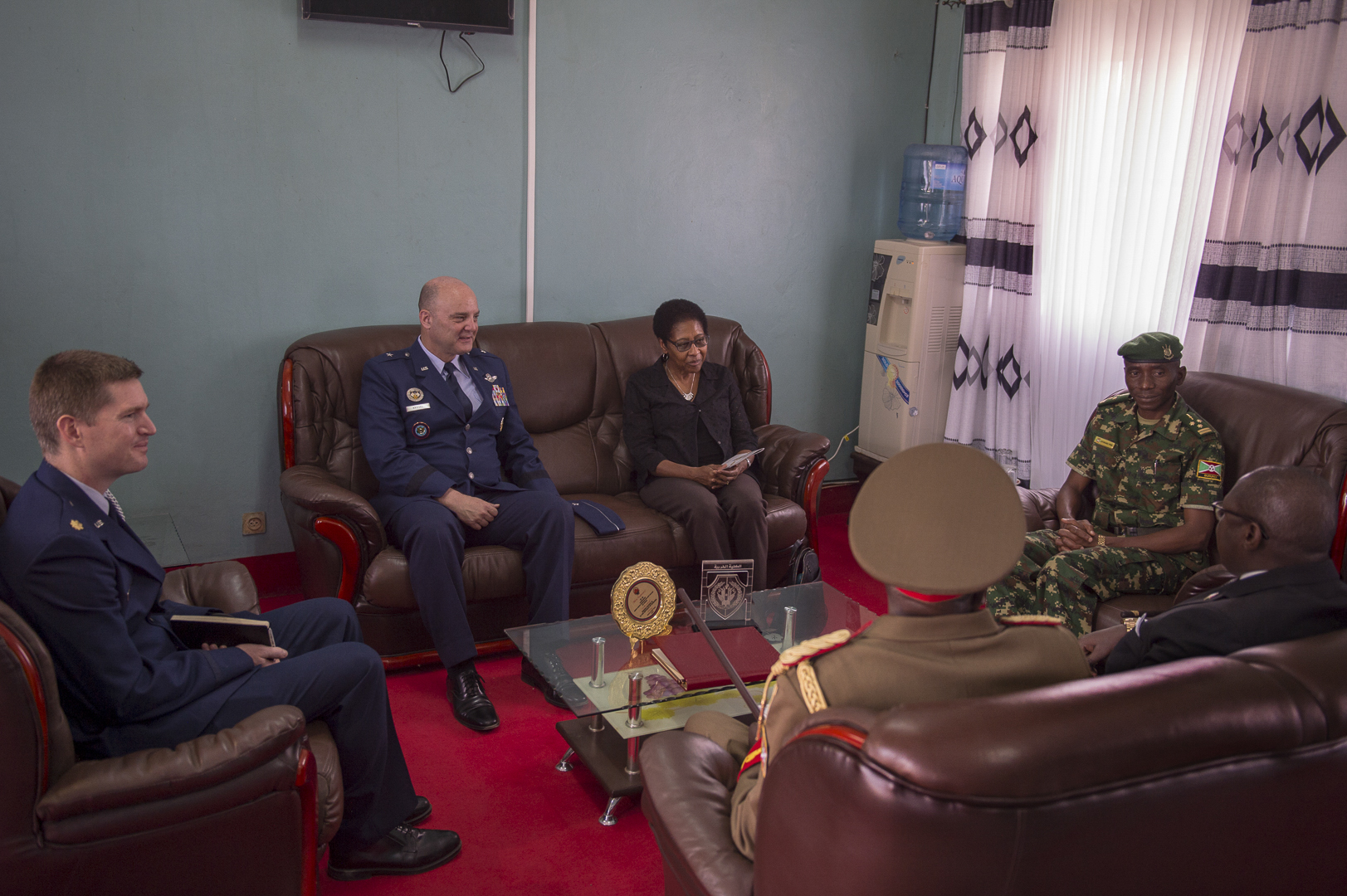 U.S. Amb. Eunice S. Reddick, the U.S. Charge d'affaires to Burundi, and former Ambassador to Gabon and Niger, and U.S. Air Force Brig. Gen. James R. Kriesel, deputy commanding general of Combined Joint Task Force-Horn of Africa, meet with leaders of the Burundi National Defence Force in Bujumbura, Burundi, July 19, 2019. Reddick and Kriesel attended the Burundi Senior Command and Staff College graduation of 28-students from Burundi, Uganda, Tanzania and Kenya. (U.S. Air Force Photo by Senior Airman Codie Trimble)