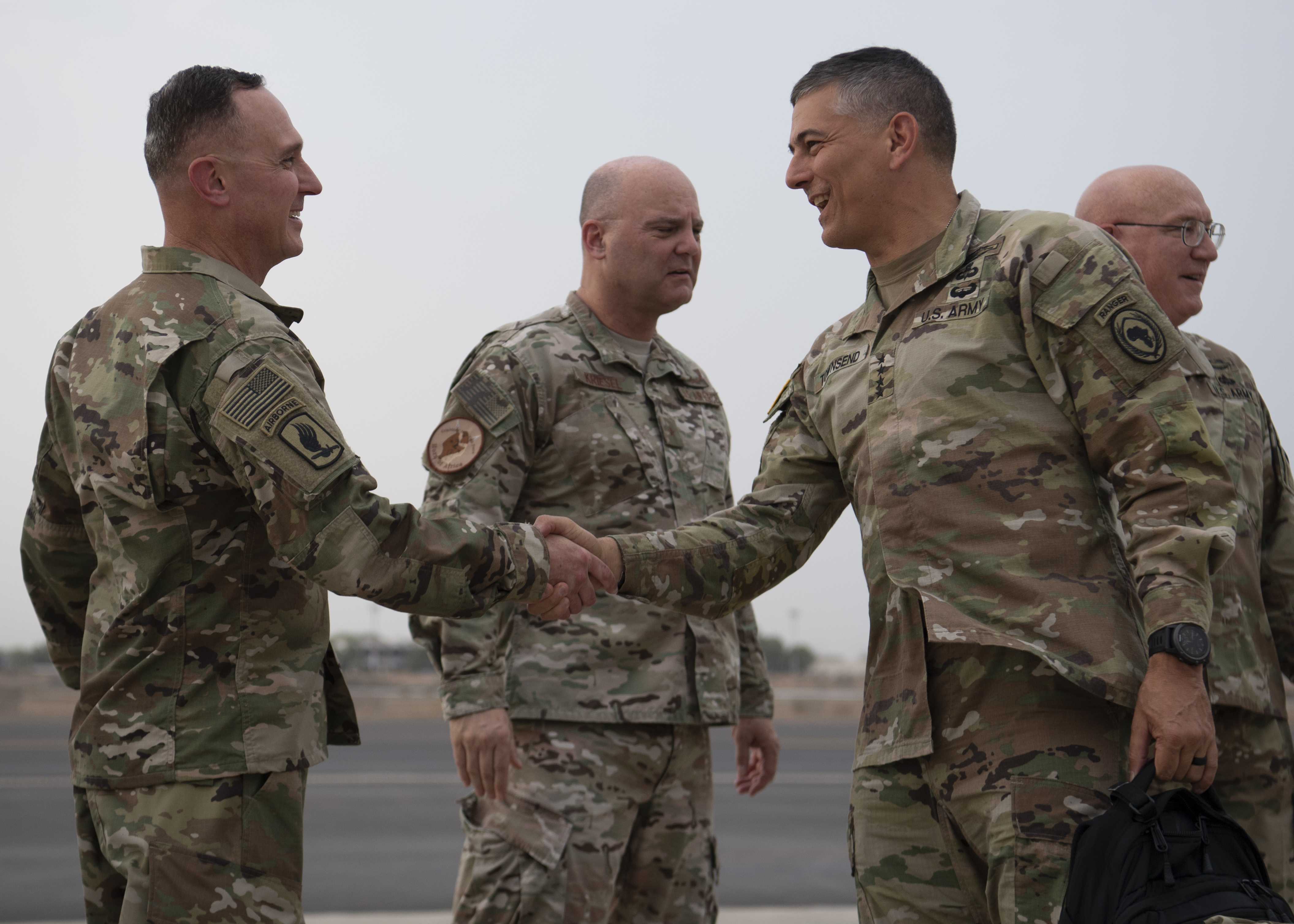 U.S. Army Gen. Stephen J. Townsend, commander, U.S. Africa Command (AFRICOM), right, is greeted by U.S. Army Command Sgt. Maj. Shawn Carns, command senior enlisted leader, Combined Joint Task Force-Horn of Africa (CJTF-HOA), at Camp Lemonnier, Djibouti, August 5, 2019.  As commander of AFRICOM Townsend is in charge of military relations with African nations, the African Union and African regional security organizations. Townsend visited Djibouti as part of his familiarization of CJTF-HOA. (U.S. Air Force photo by Staff Sgt. J.D. Strong II) (U.S. Air Force photo by Staff Sgt. J.D. Strong II)